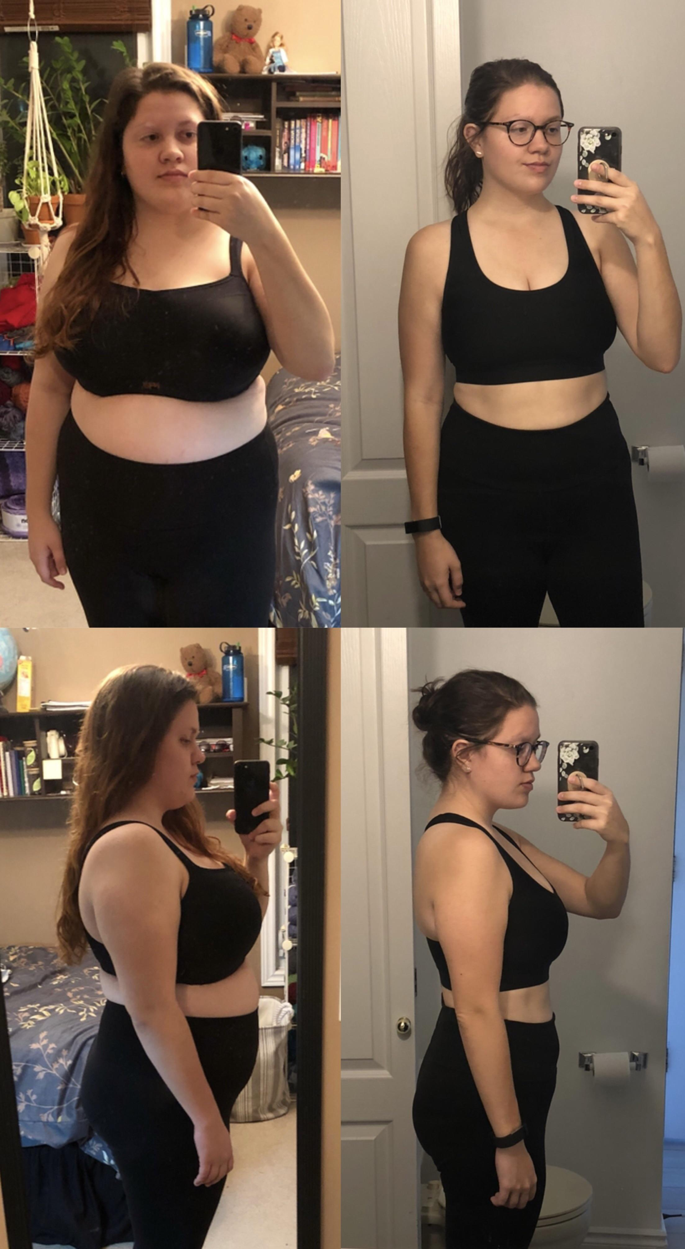 5 foot 5 Female 66 lbs Fat Loss Before and After 216 lbs to 150 lbs