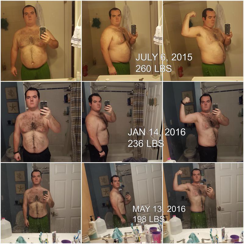 5 foot 8 Male Progress Pics of 62 lbs Weight Loss 260 lbs to 198 lbs