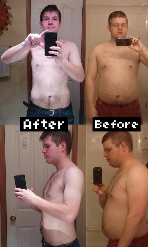 Before and After 80 lbs Weight Loss 5 foot 8 Male 247 lbs to 167 lbs
