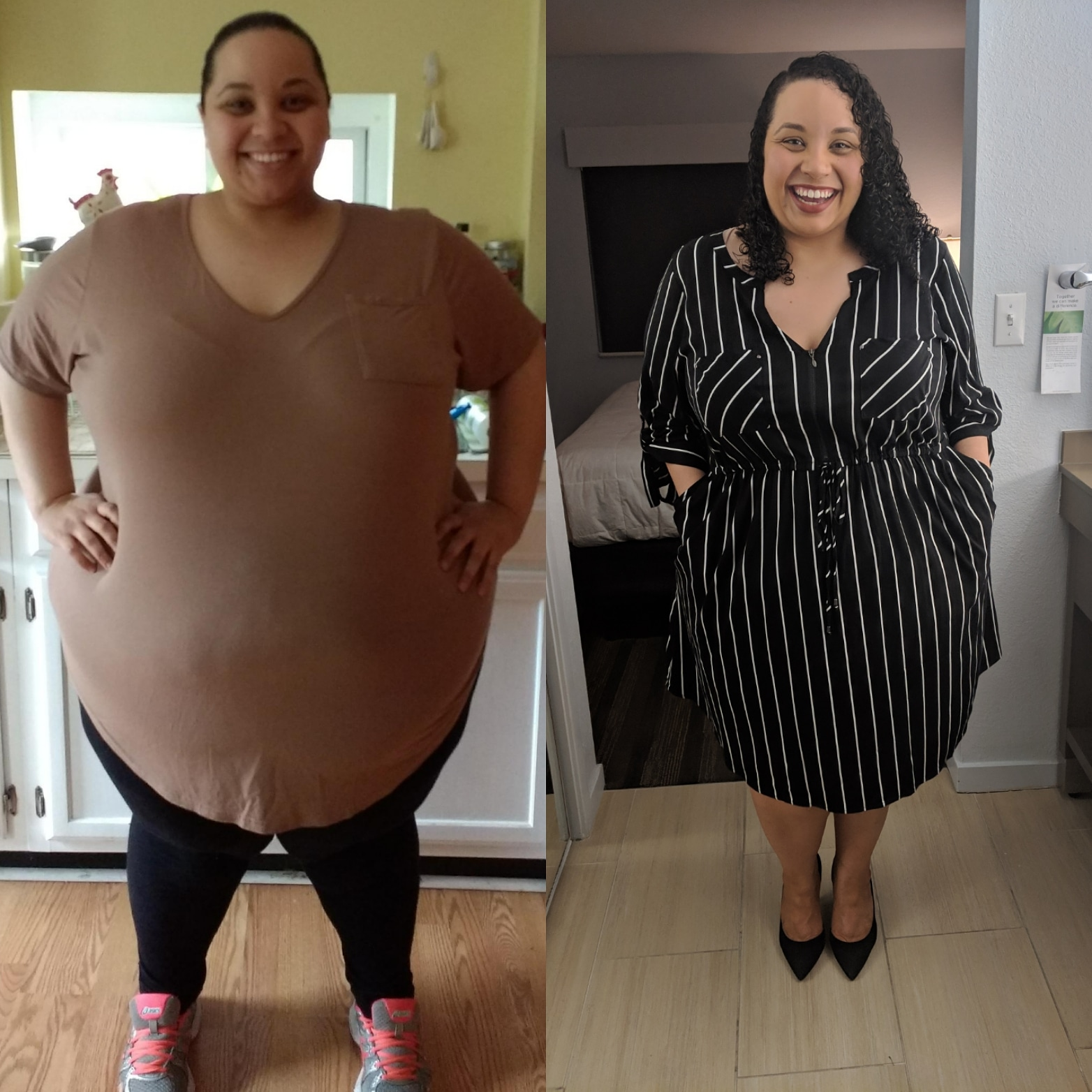 124 lbs Fat Loss Before and After 5 foot 3 Female 443 lbs to 319 lbs