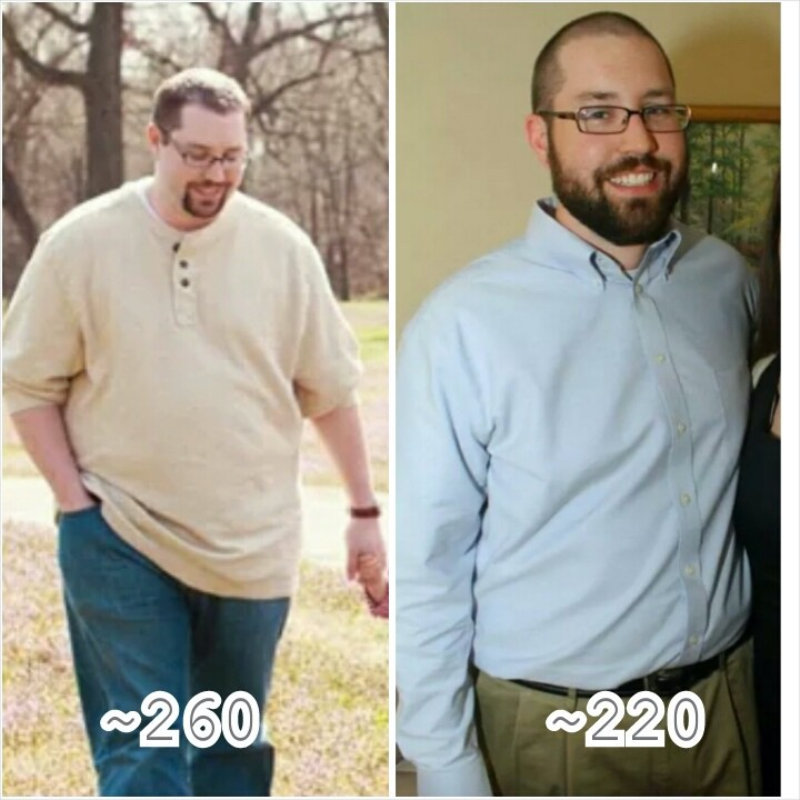 5 foot 10 Male 40 lbs Fat Loss Before and After 260 lbs to 220 lbs