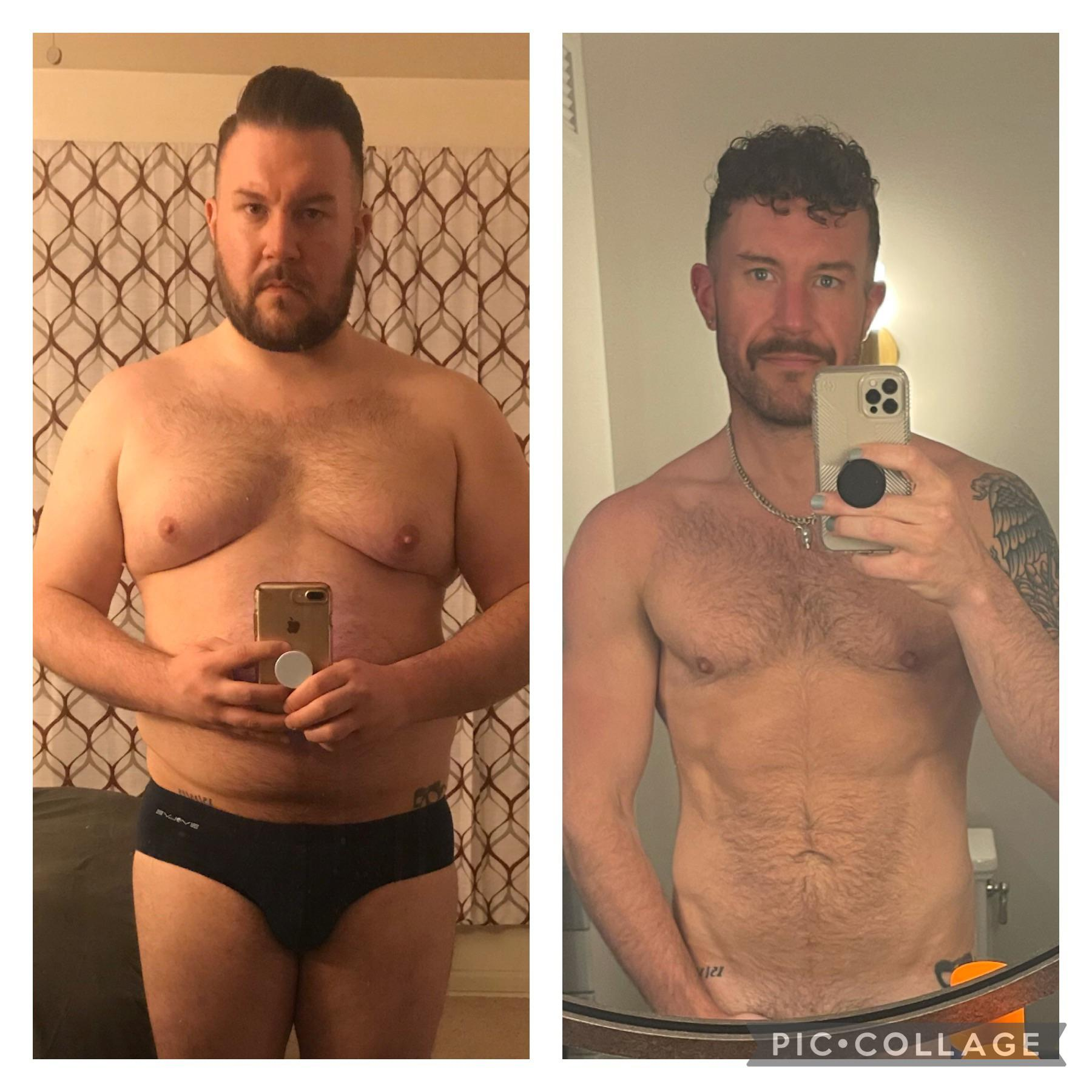 6 foot Male Progress Pics of 83 lbs Fat Loss 267 lbs to 184 lbs