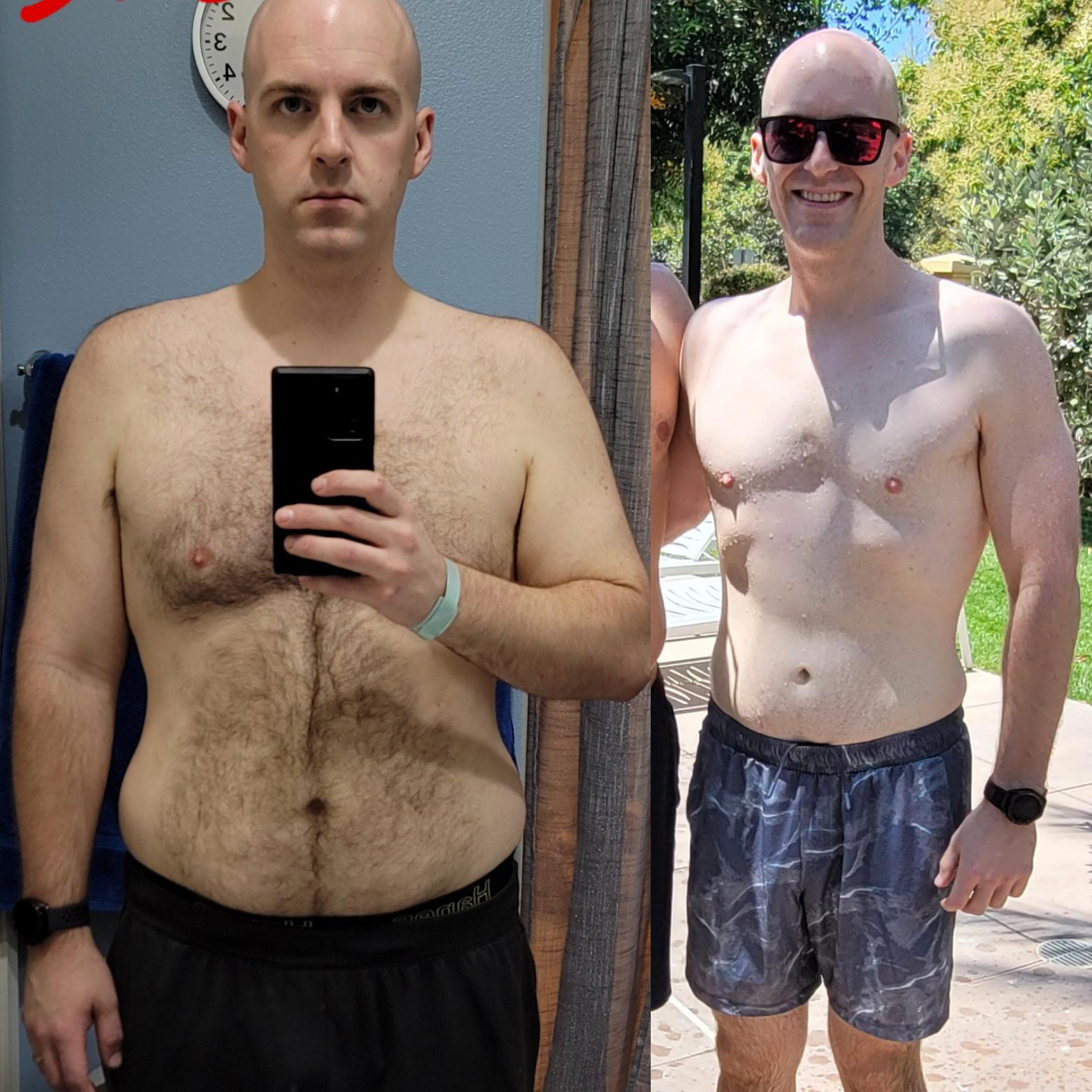 90 lbs Fat Loss Before and After 6 foot 6 Male 280 lbs to 190 lbs