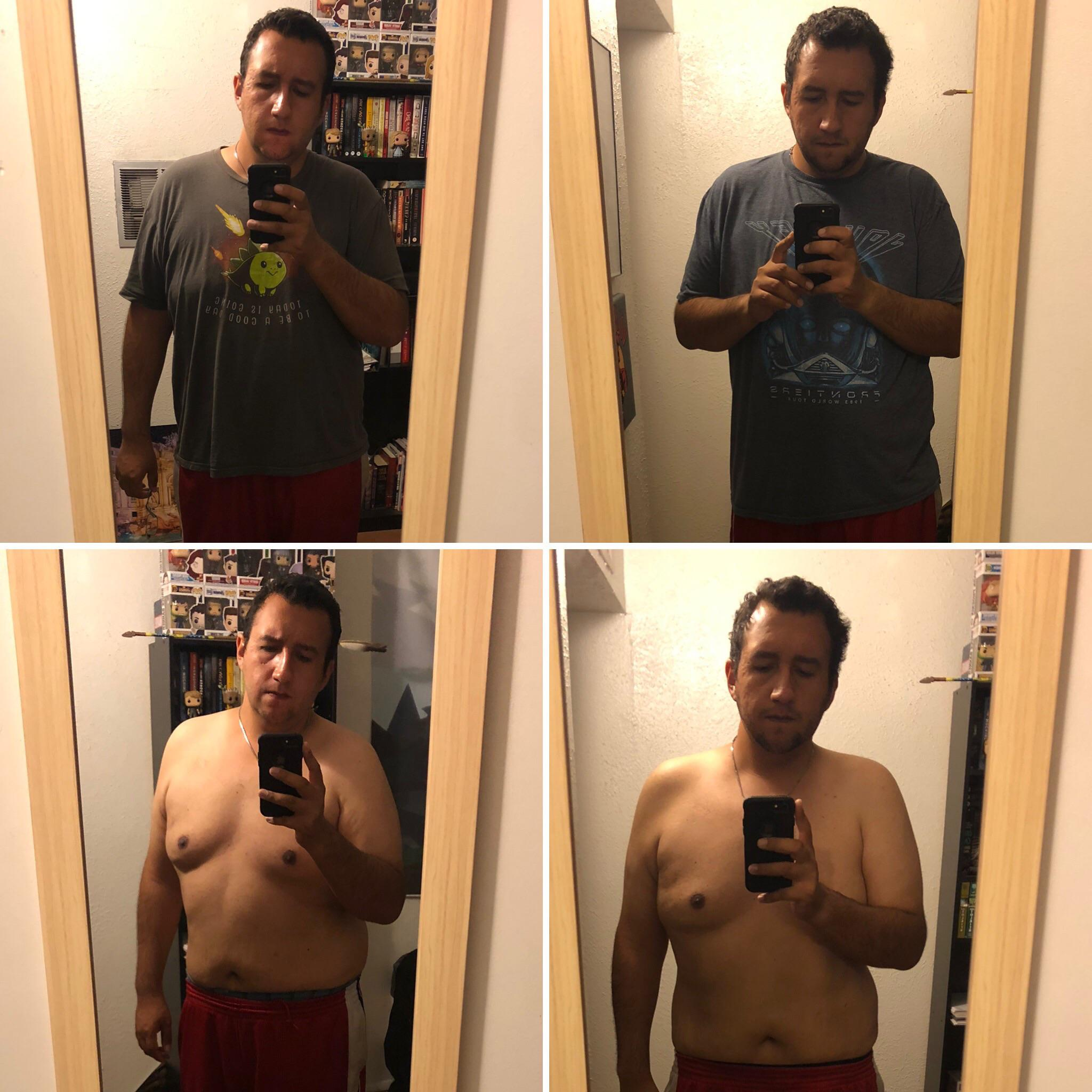 5 feet 10 Male 18 lbs Fat Loss Before and After 265 lbs to 247 lbs