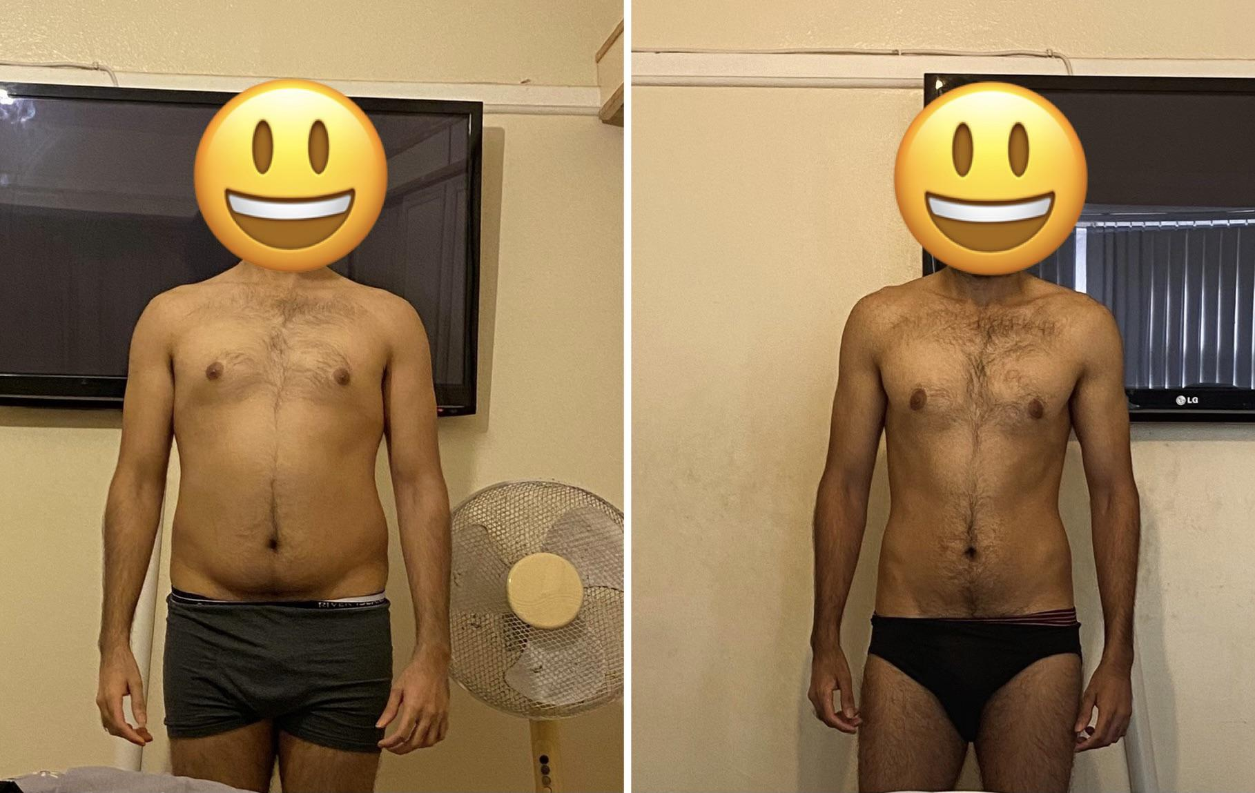 17 lbs Fat Loss Before and After 5 feet 10 Male 165 lbs to 148 lbs