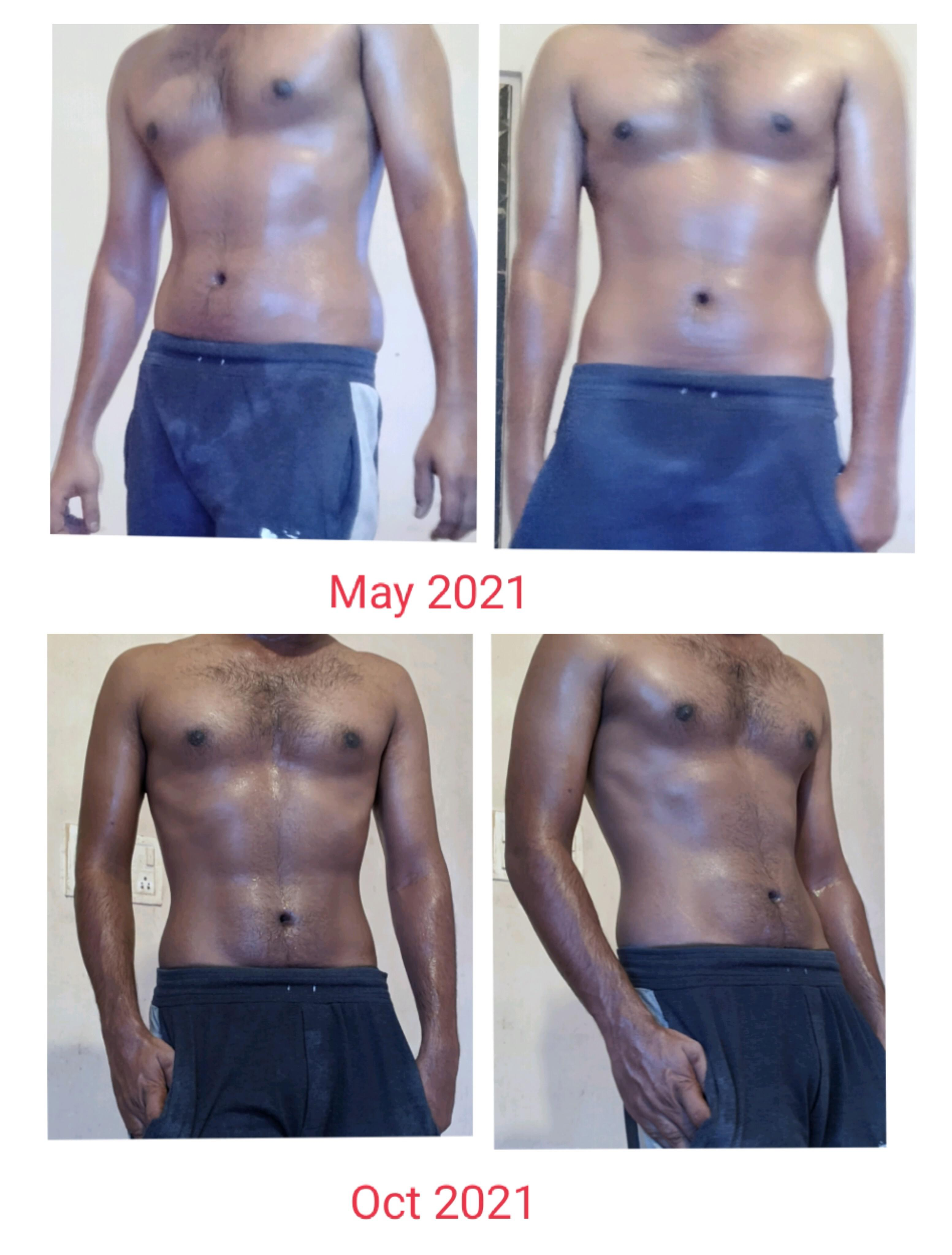 29 lbs Fat Loss Before and After 5 feet 10 Male 190 lbs to 161 lbs