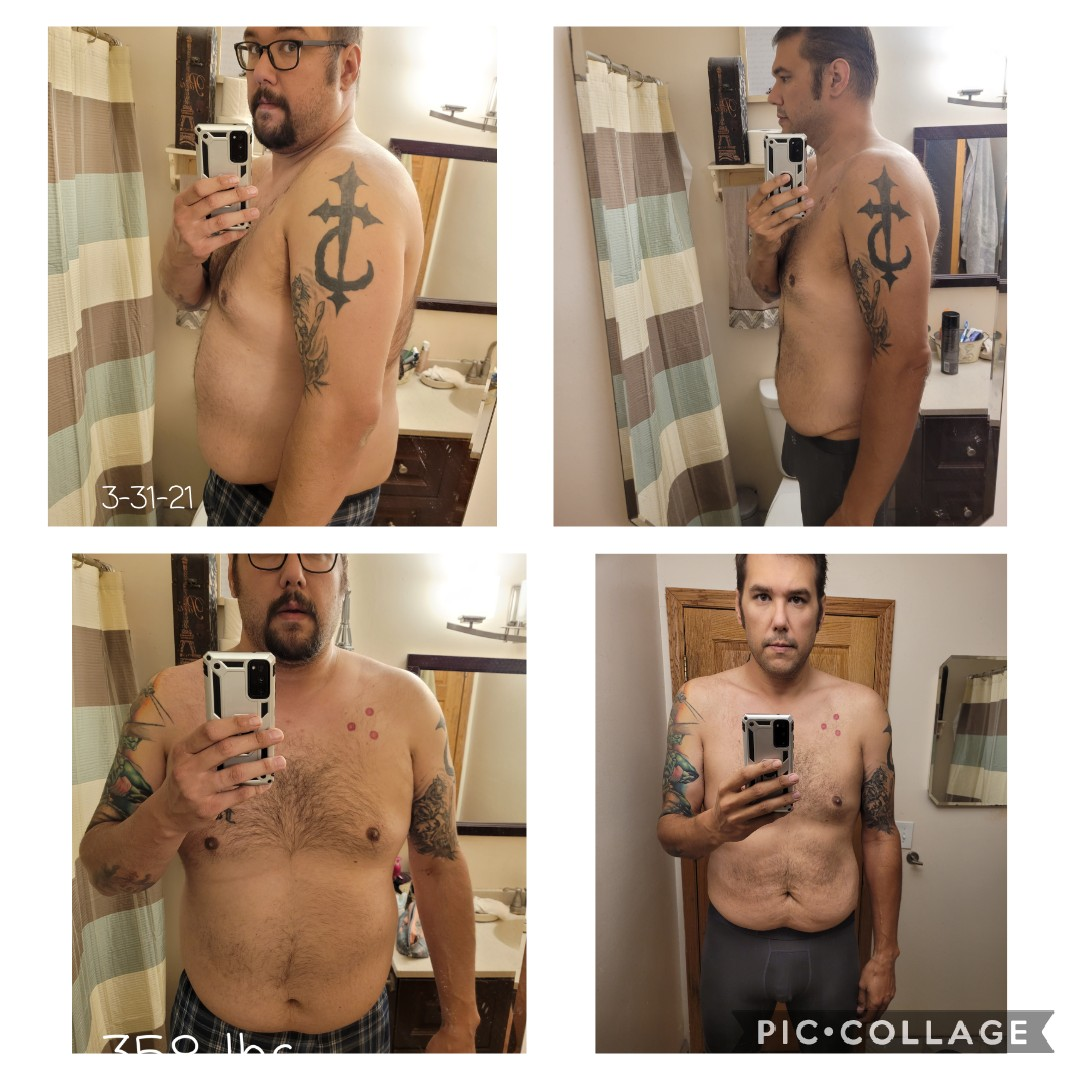 Before and After 90 lbs Weight Loss 6'8 Male 358 lbs to 268 lbs
