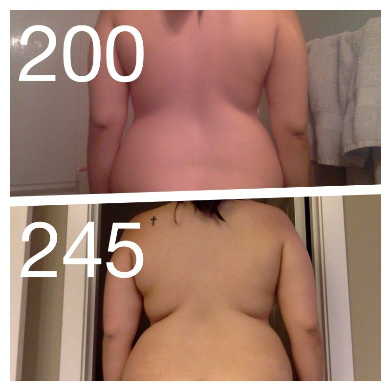 5 foot Female 45 lbs Fat Loss Before and After 245 lbs to 200 lbs