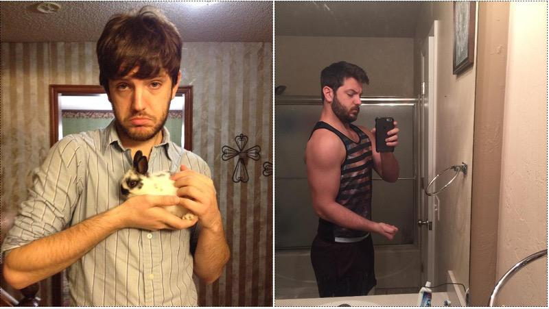 Before and After 39 lbs Muscle Gain 6 feet 3 Male 176 lbs to 215 lbs