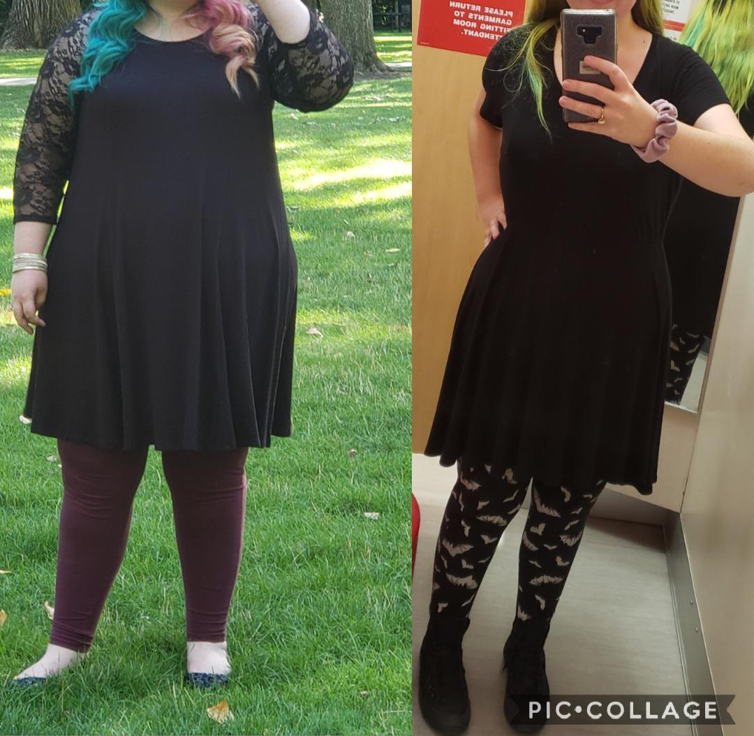 Before and After 103 lbs Weight Loss 5 foot 7 Female 296 lbs to 193 lbs
