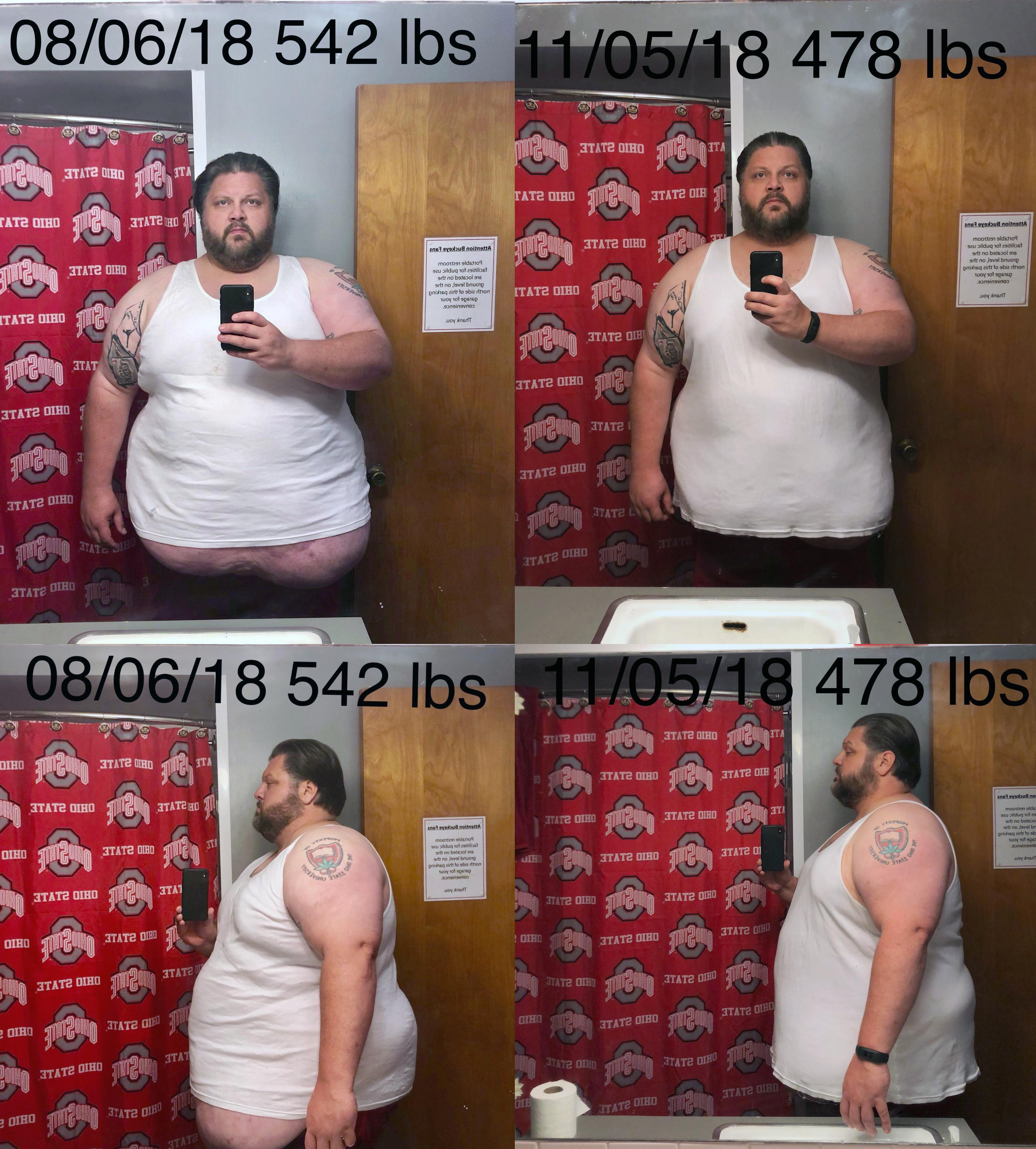 Progress Pics of 65 lbs Fat Loss 6'1 Male 542 lbs to 477 lbs