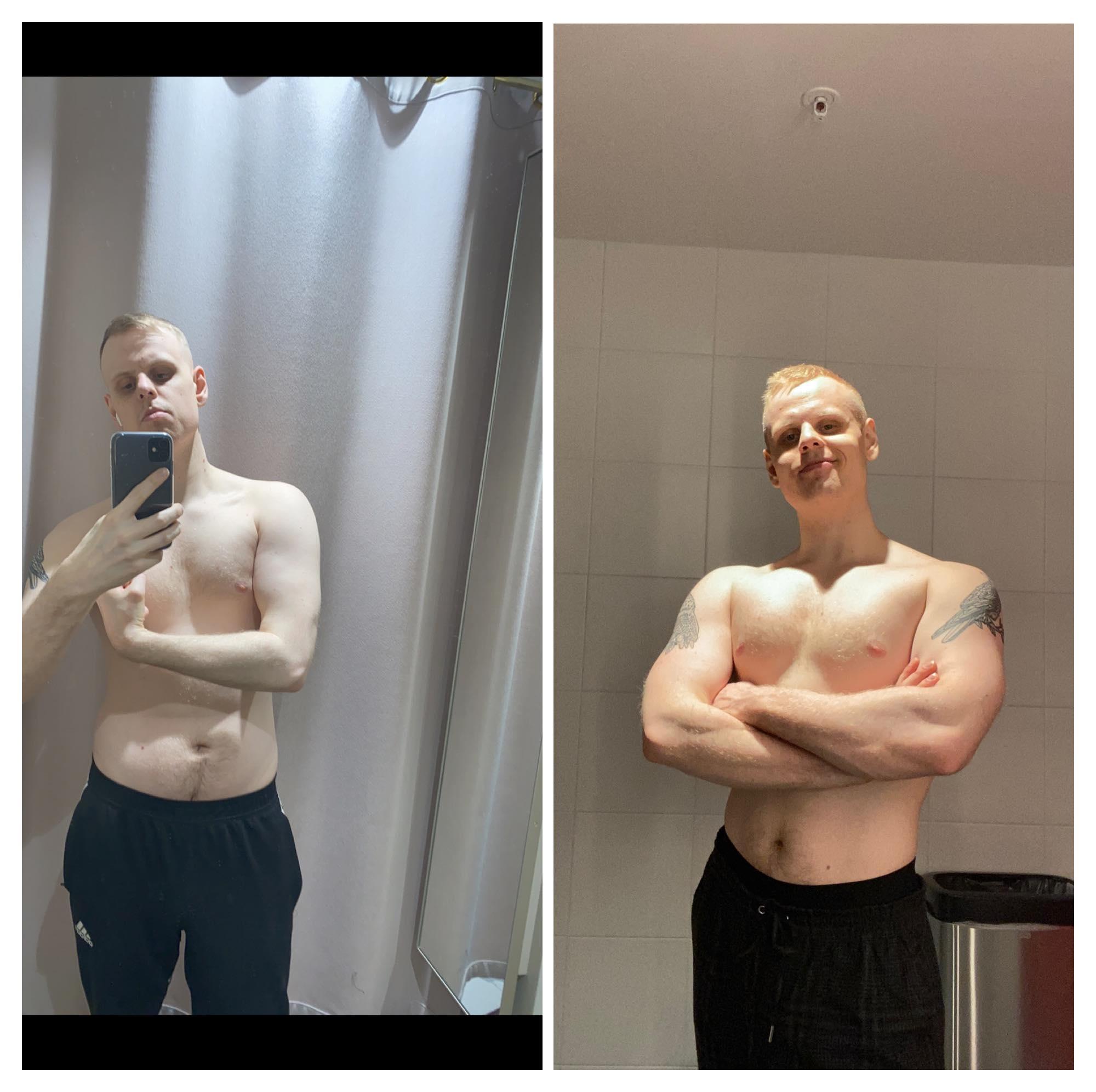 Progress Pics of 10 lbs Weight Gain 5 foot 11 Male 167 lbs to 177 lbs