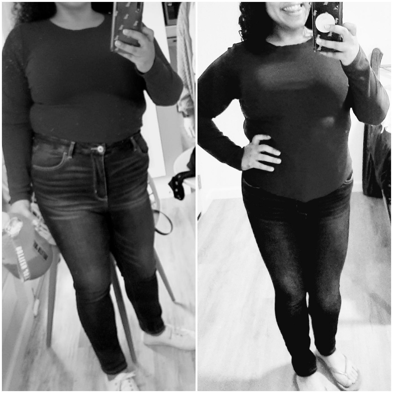 Progress Pics of 12 lbs Fat Loss 5 feet 3 Female 180 lbs to 168 lbs