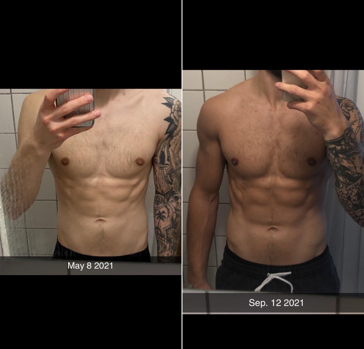 Progress Pics of 8 lbs Weight Gain 5 feet 9 Male 136 lbs to 144 lbs