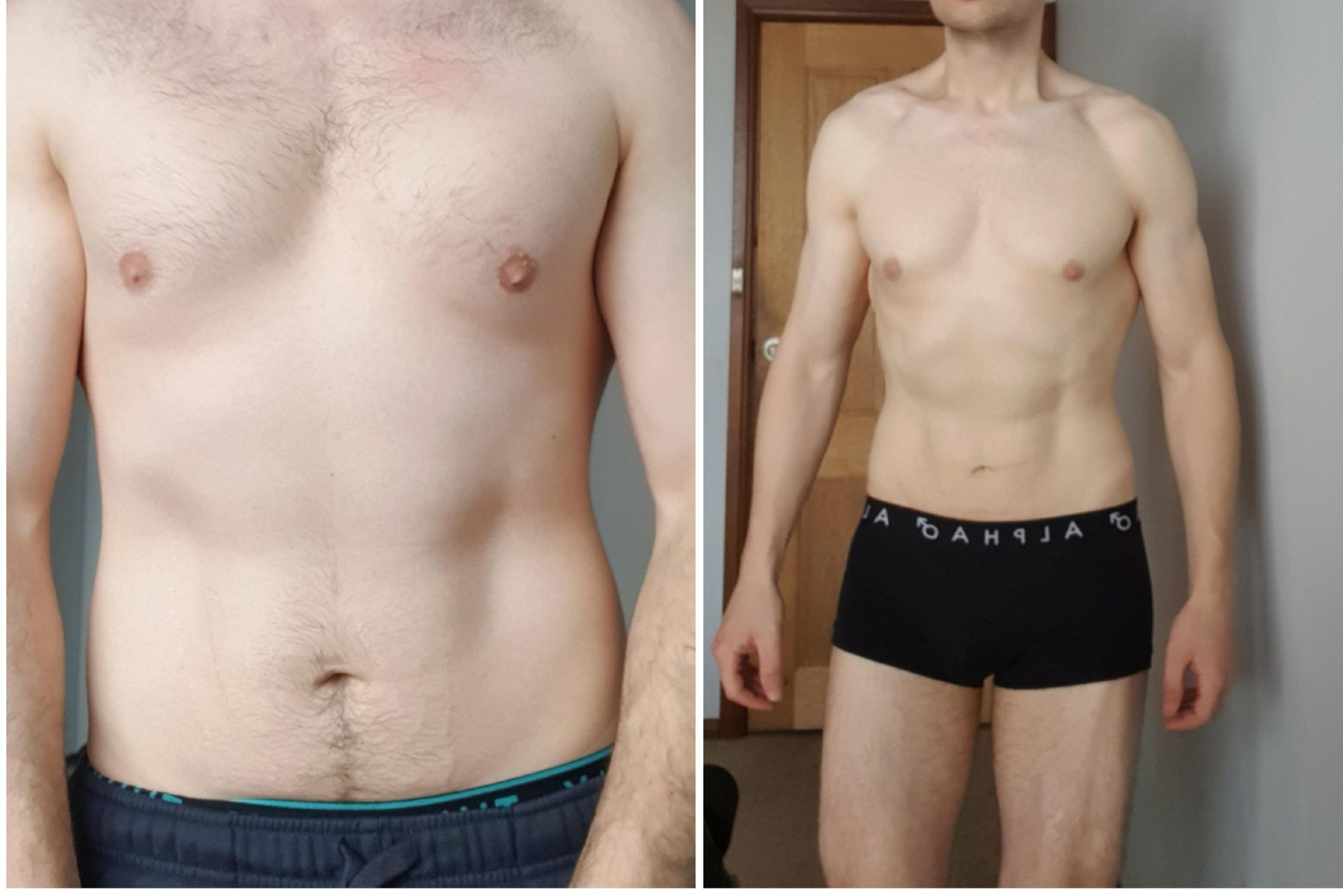 5'10 Male Before and After 15 lbs Weight Loss 165 lbs to 150 lbs