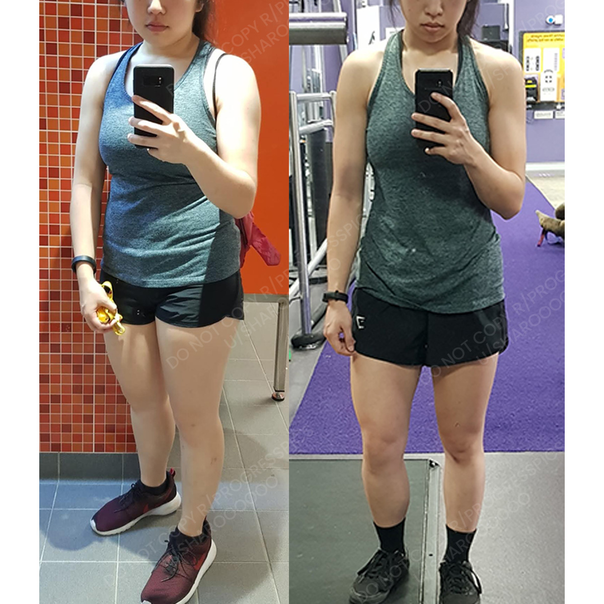 16 lbs Weight Loss Before and After 5 foot 1 Female 137 lbs to 121 lbs