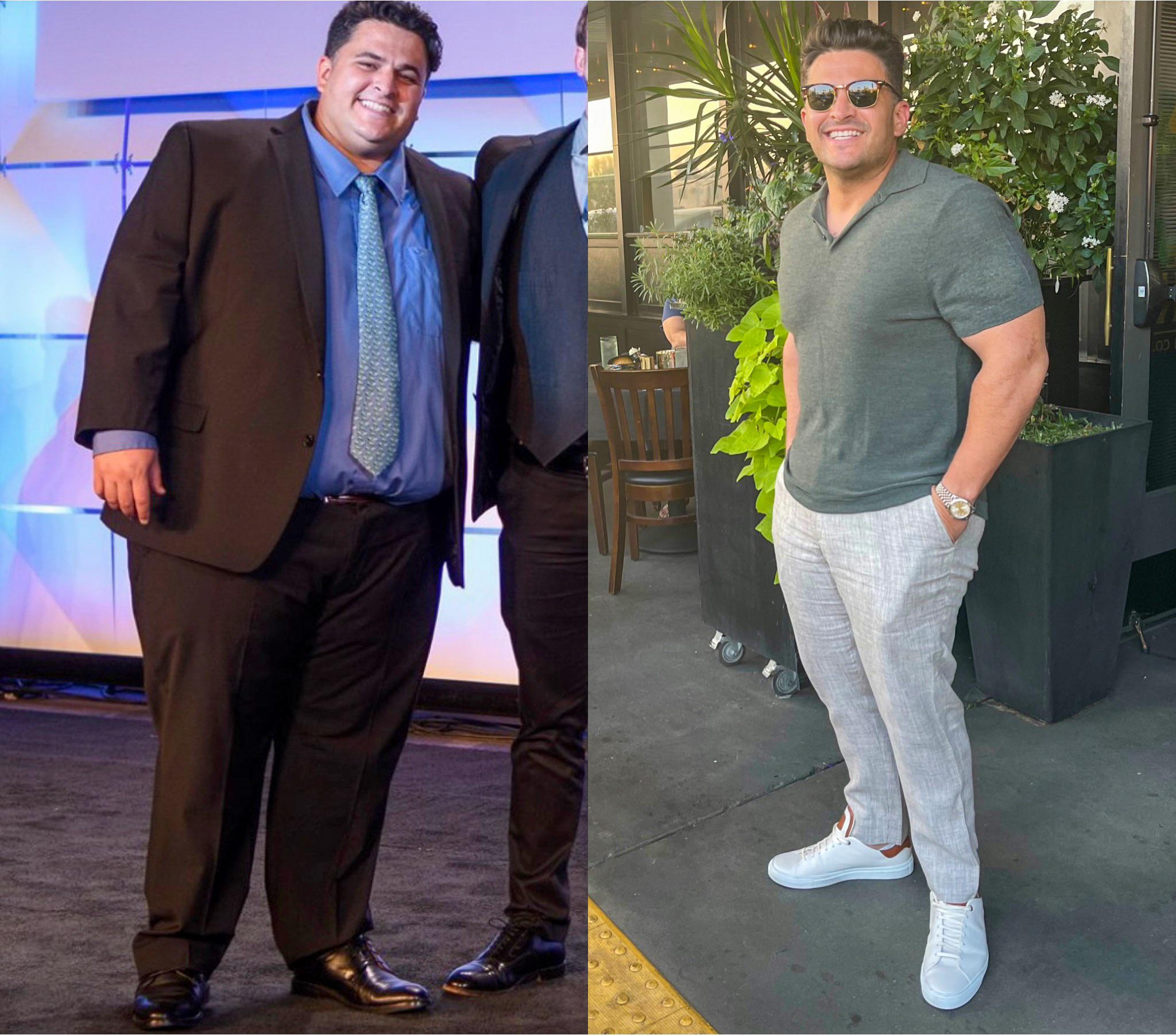 Before and After 180 lbs Weight Loss 5 foot 9 Male 400 lbs to 220 lbs