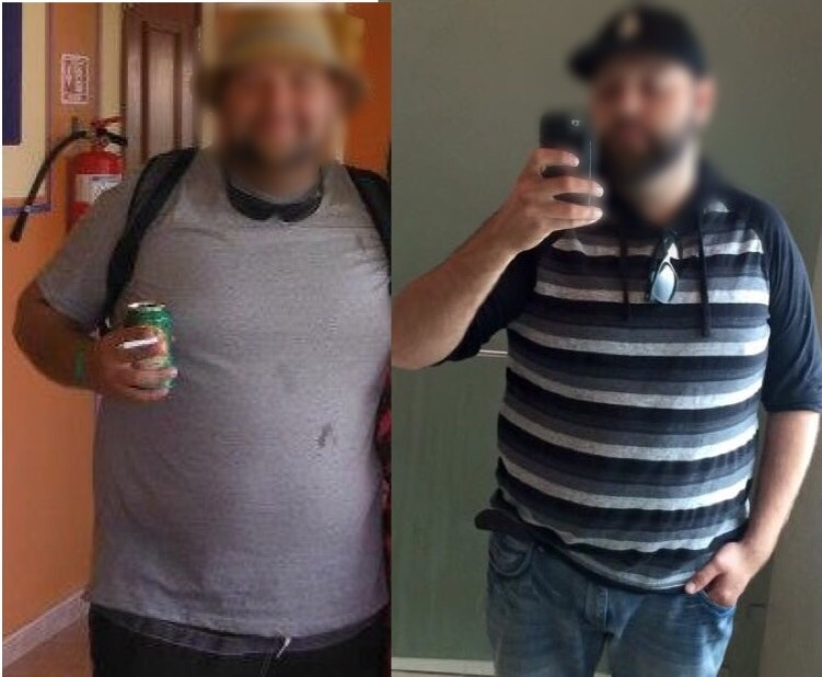 Before and After 38 lbs Weight Loss 5 foot 10 Male 276 lbs to 238 lbs