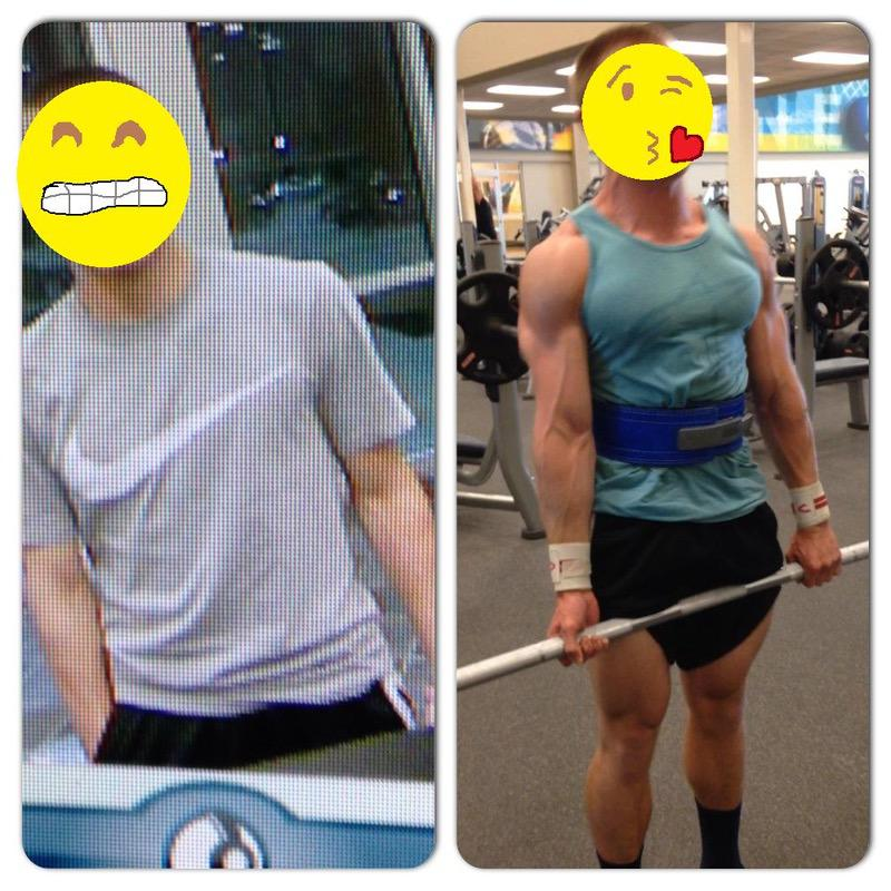 32 lbs Muscle Gain Before and After 5 feet 5 Male 125 lbs to 157 lbs