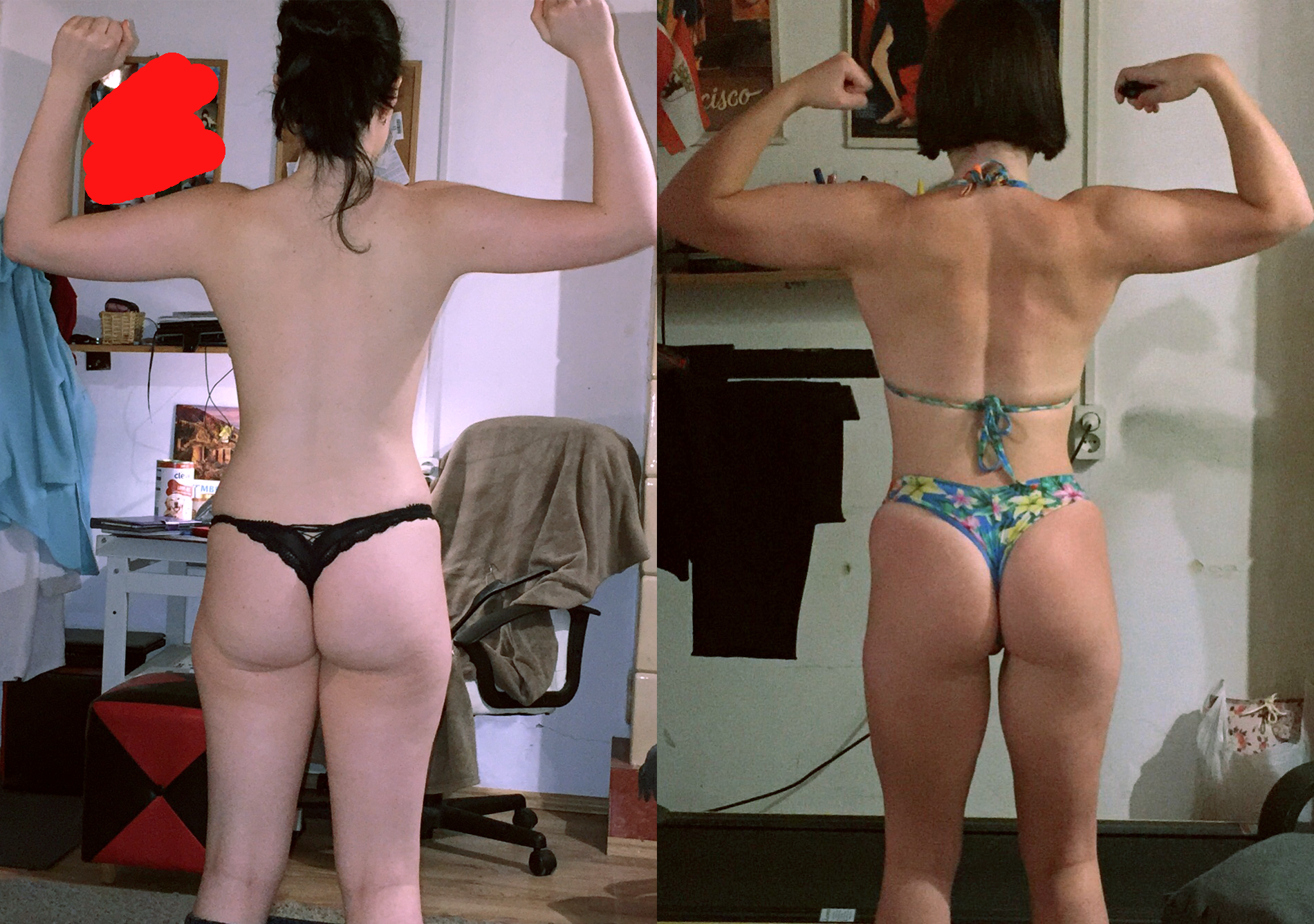 5 foot 5 Female 16 lbs Muscle Gain Before and After 116 lbs to 132 lbs