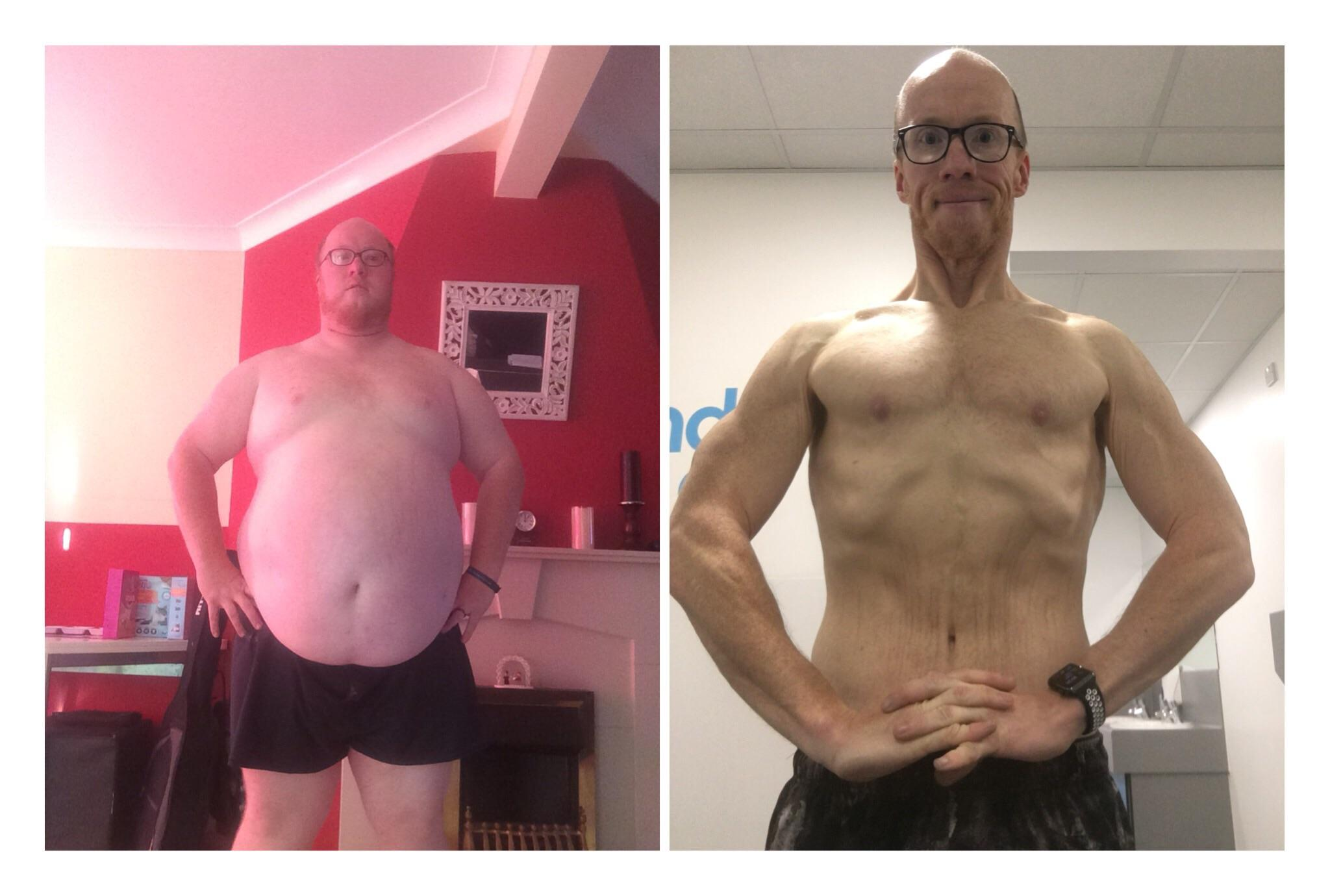 Before and After 227 lbs Weight Loss 5 foot 10 Male 392 lbs to 165 lbs