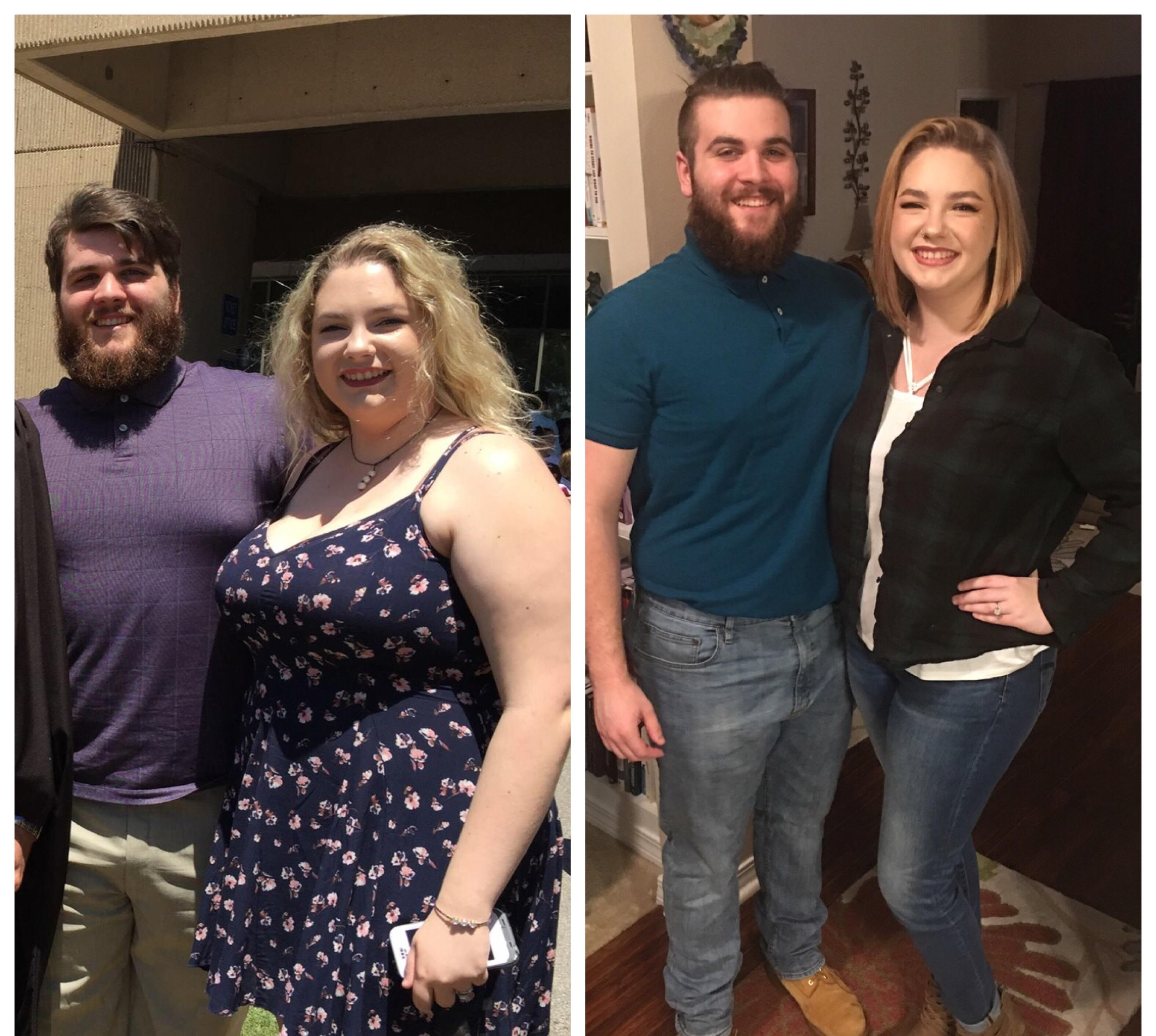 Before and After 70 lbs Weight Loss 6 feet 1 Male 297 lbs to 227 lbs