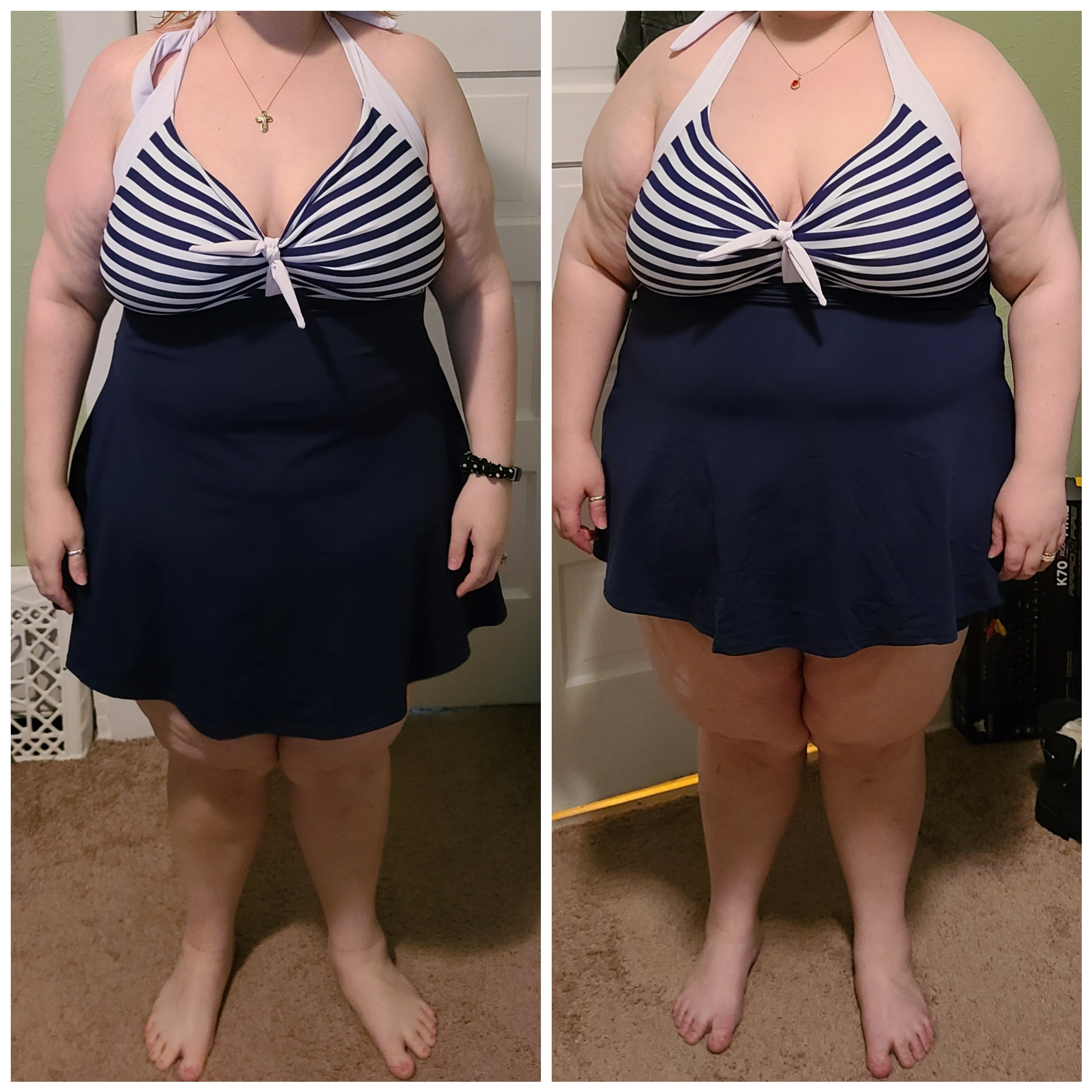 Before and After 88 lbs Fat Loss 5'1 Female 287 lbs to 199 lbs