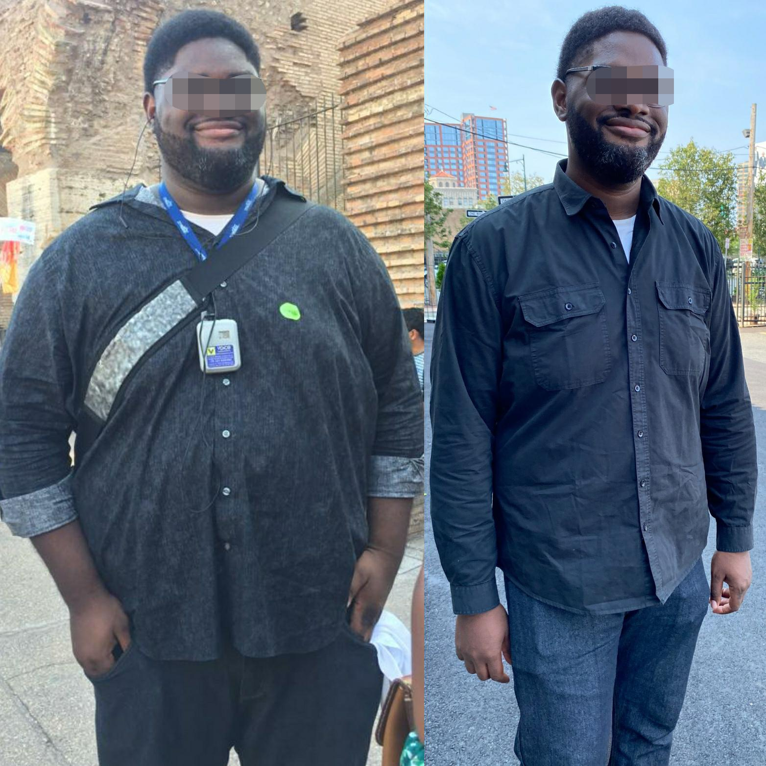Before and After 129 lbs Fat Loss 6 feet 6 Male 439 lbs to 310 lbs