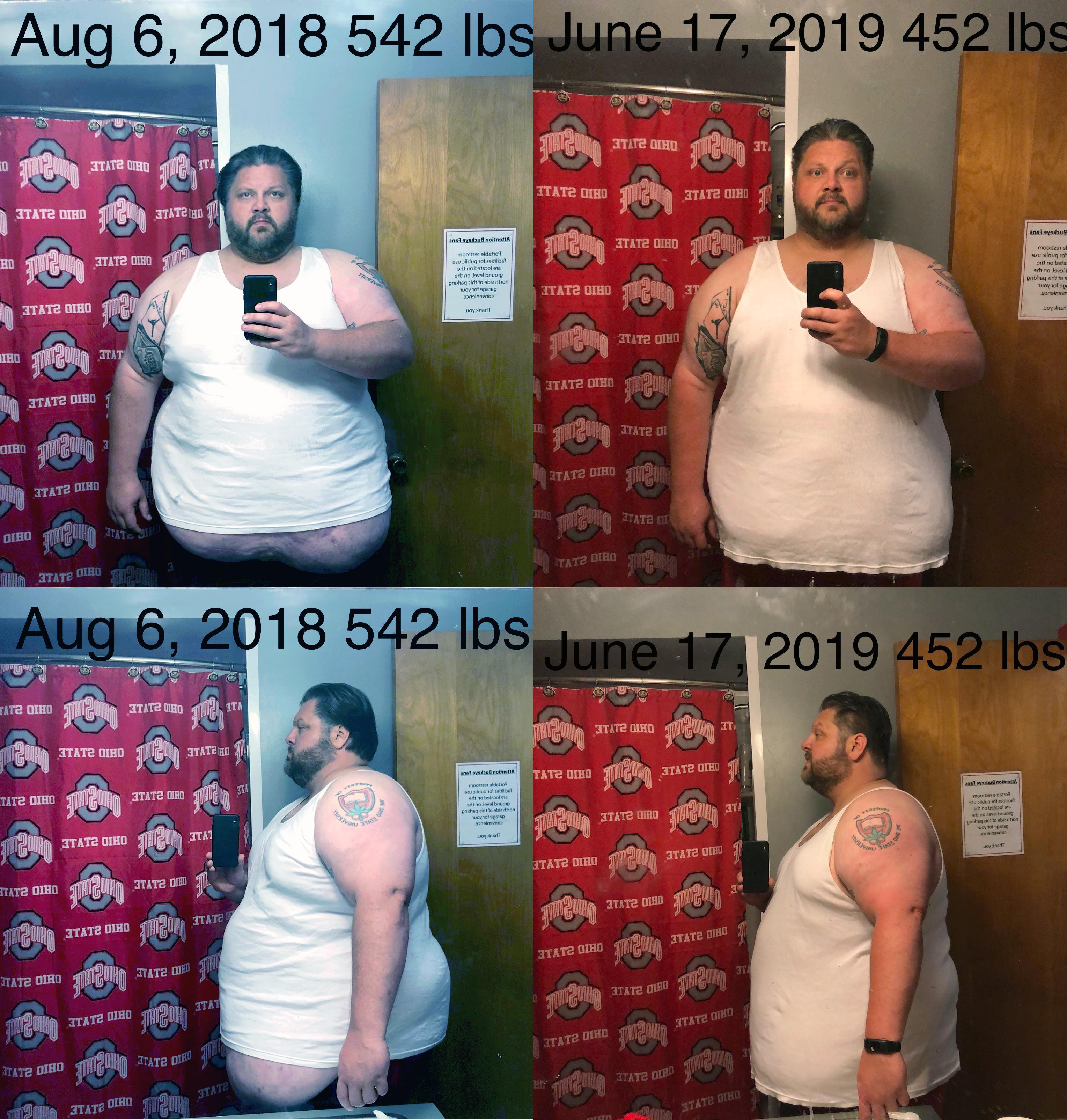 6'1 Male 90 lbs Fat Loss 542 lbs to 452 lbs