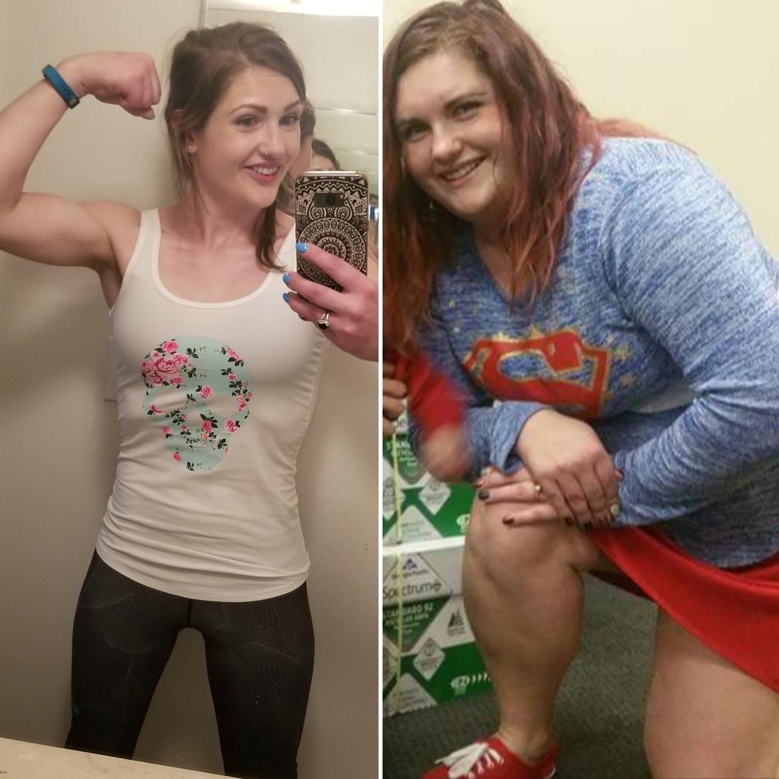 Before and After 68 lbs Fat Loss 5 foot 4 Female 186 lbs to 118 lbs