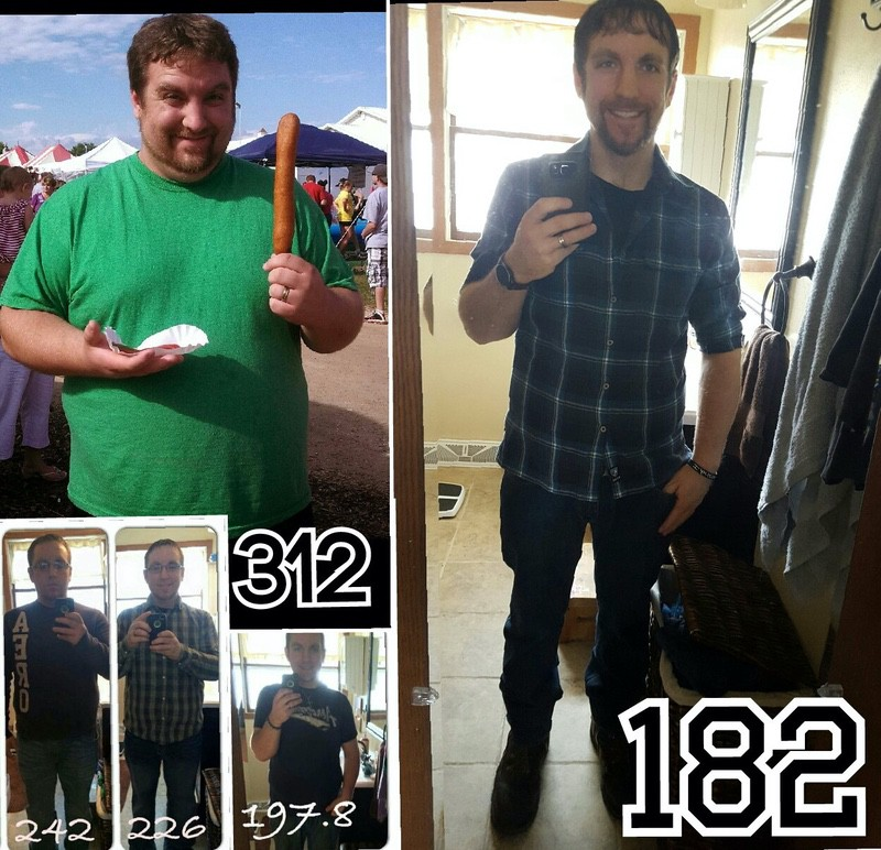 5'8 Male 130 lbs Weight Loss Before and After 312 lbs to 182 lbs