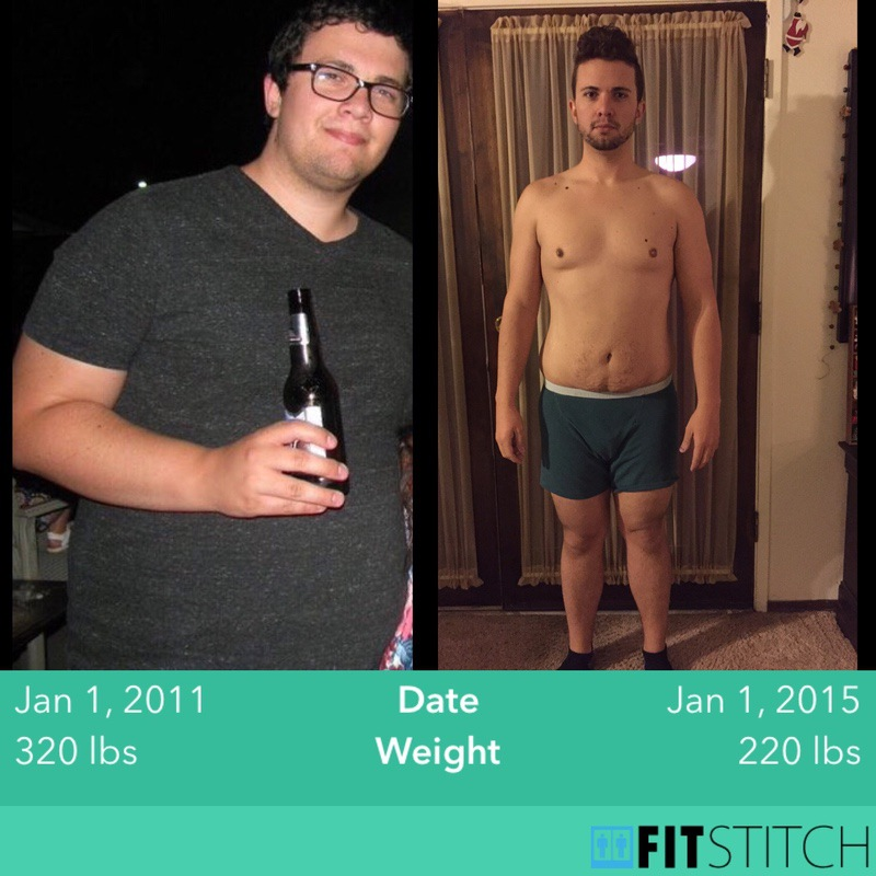 6 foot Male Before and After 100 lbs Weight Loss 320 lbs to 220 lbs