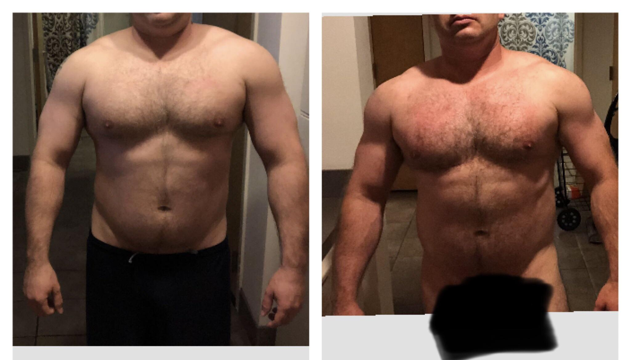 8 lbs Fat Loss Before and After 5 foot 9 Male 230 lbs to 222 lbs
