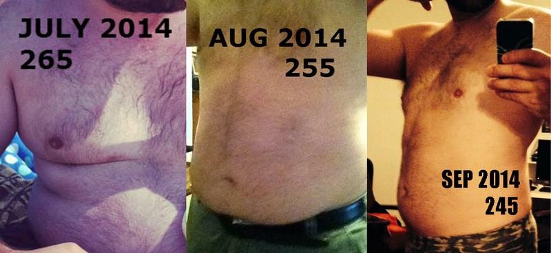 6'1 Male 20 lbs Fat Loss 265 lbs to 245 lbs