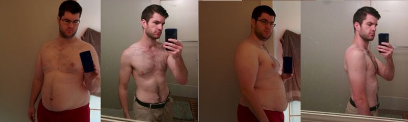 Before and After 148 lbs Weight Loss 6 foot Male 330 lbs to 182 lbs