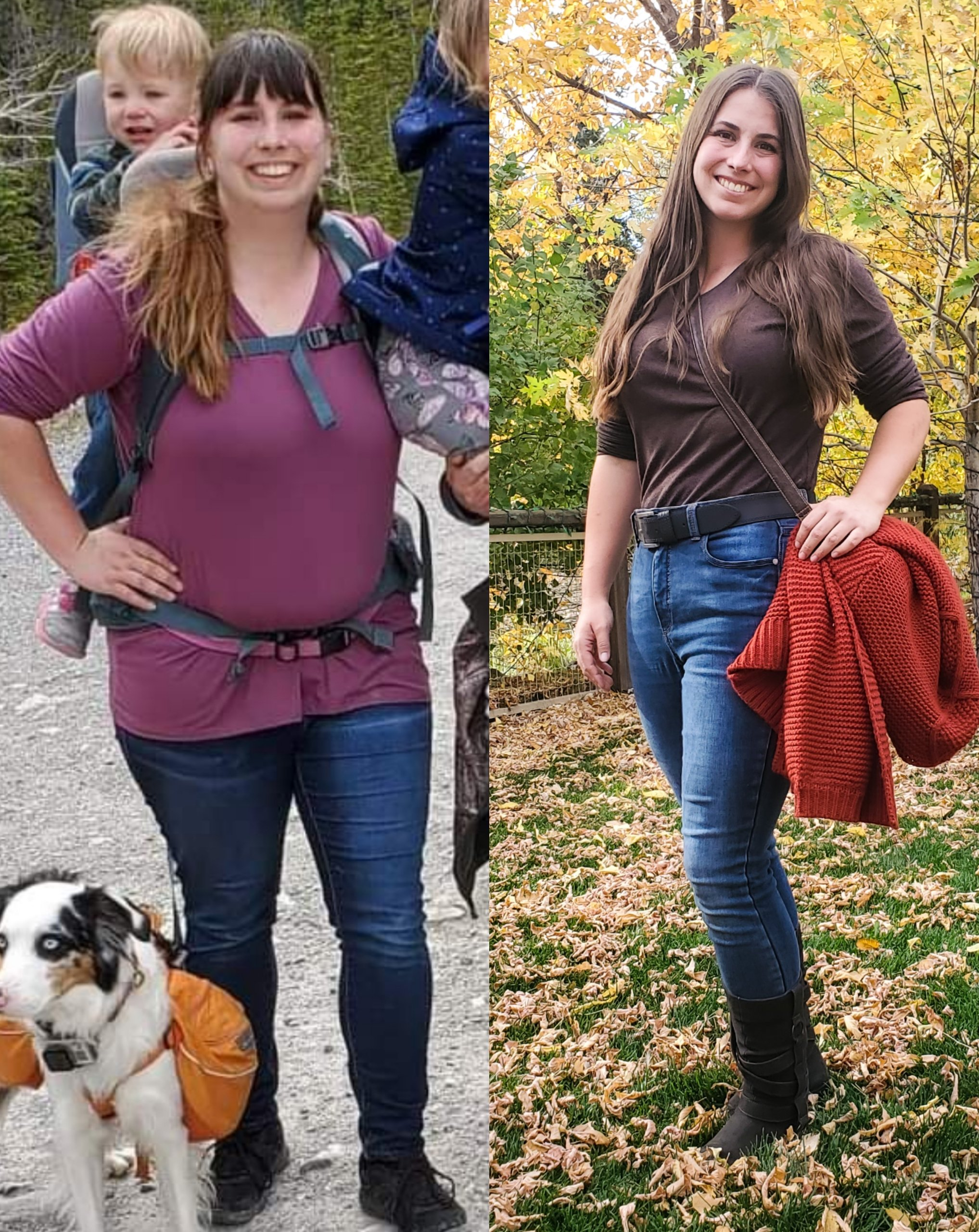 Before and After 86 lbs Weight Loss 5 foot 6 Female 255 lbs to 169 lbs