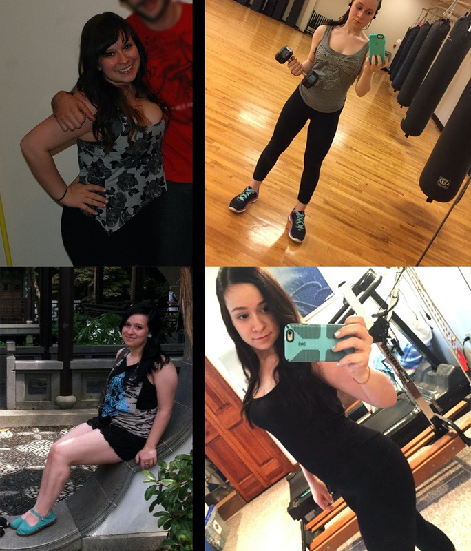 Before and After 20 lbs Fat Loss 4'11 Female 130 lbs to 110 lbs