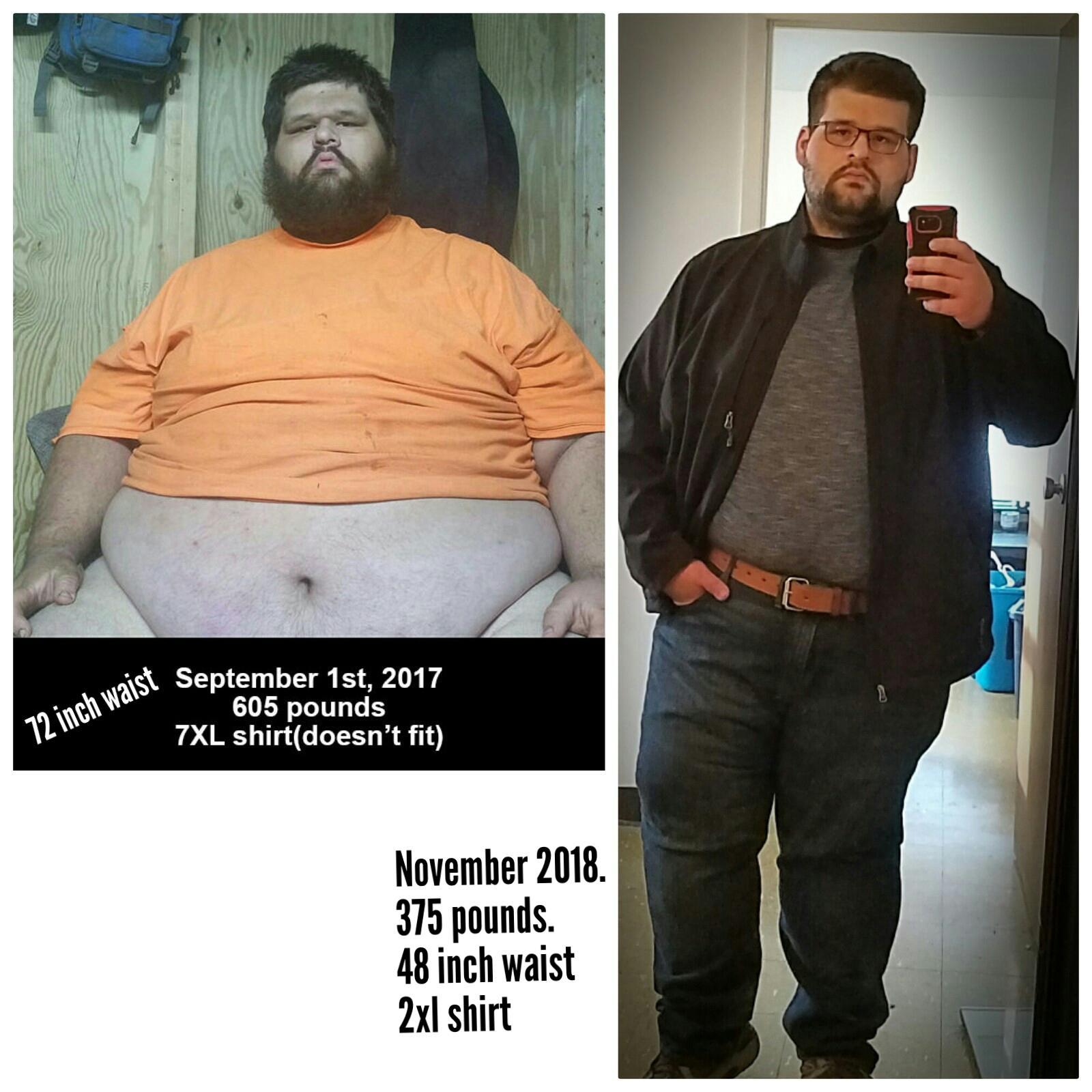 Progress Pics of 230 lbs Weight Loss 5'11 Male 605 lbs to 375 lbs