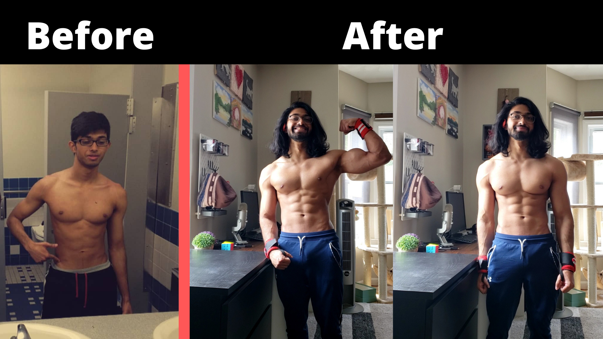 Before and After 20 lbs Weight Gain 5'3 Male 100 lbs to 120 lbs
