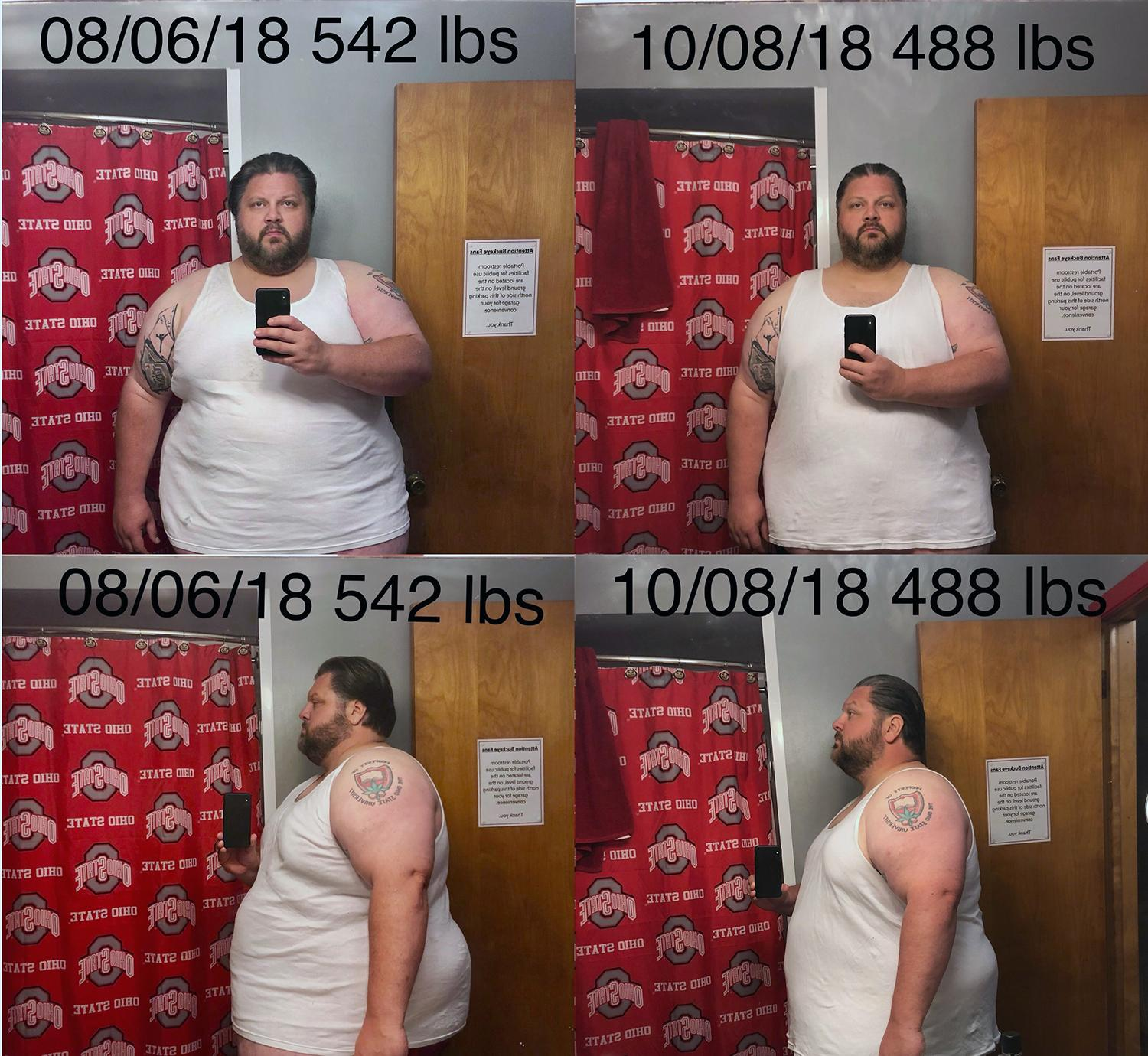 Before and After 54 lbs Weight Loss 6 feet 1 Male 542 lbs to 488 lbs