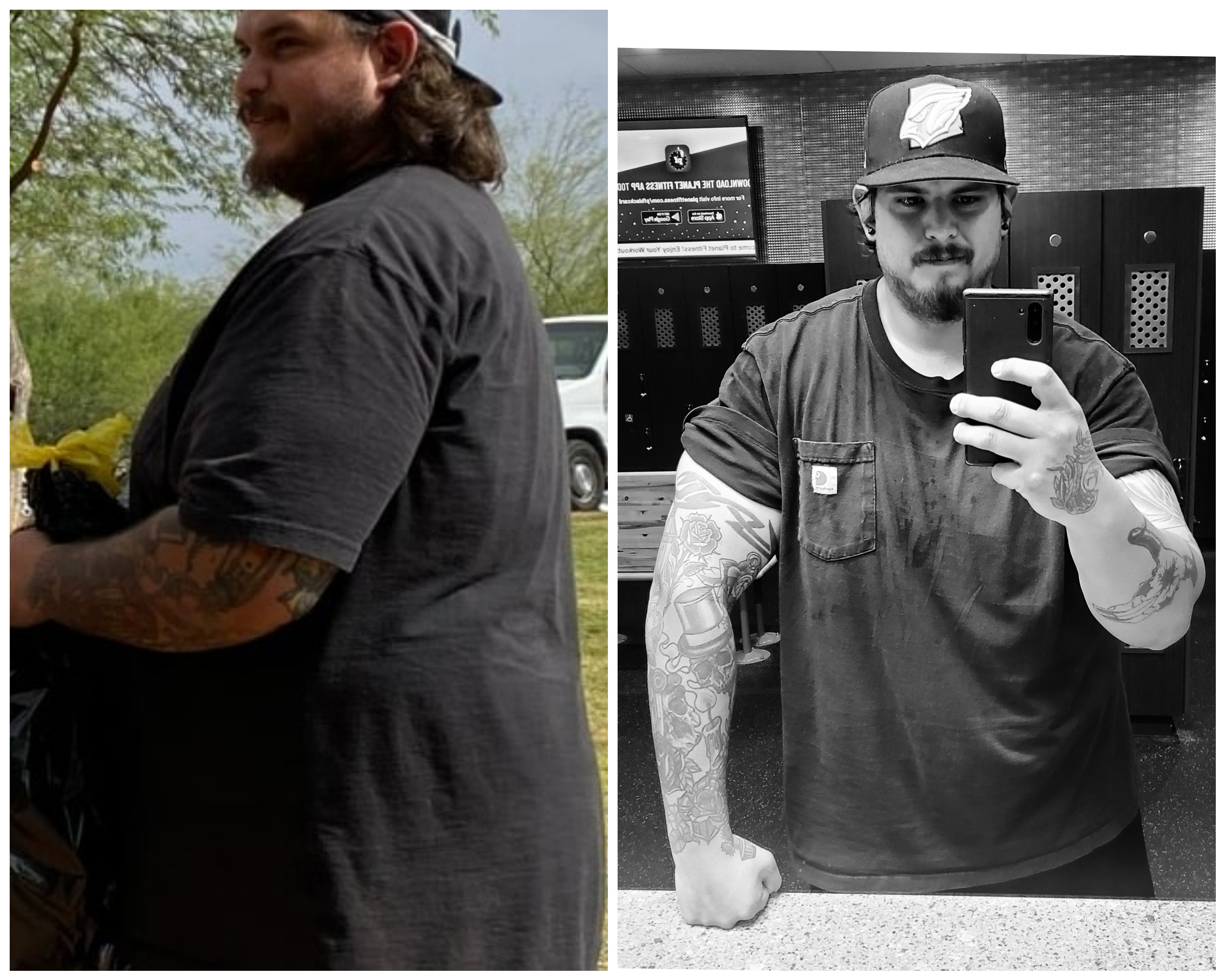 75 lbs Fat Loss Before and After 6'2 Male 351 lbs to 276 lbs