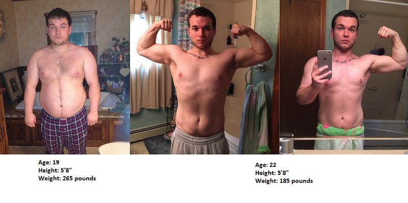 80 lbs Fat Loss Before and After 5 feet 8 Male 265 lbs to 185 lbs