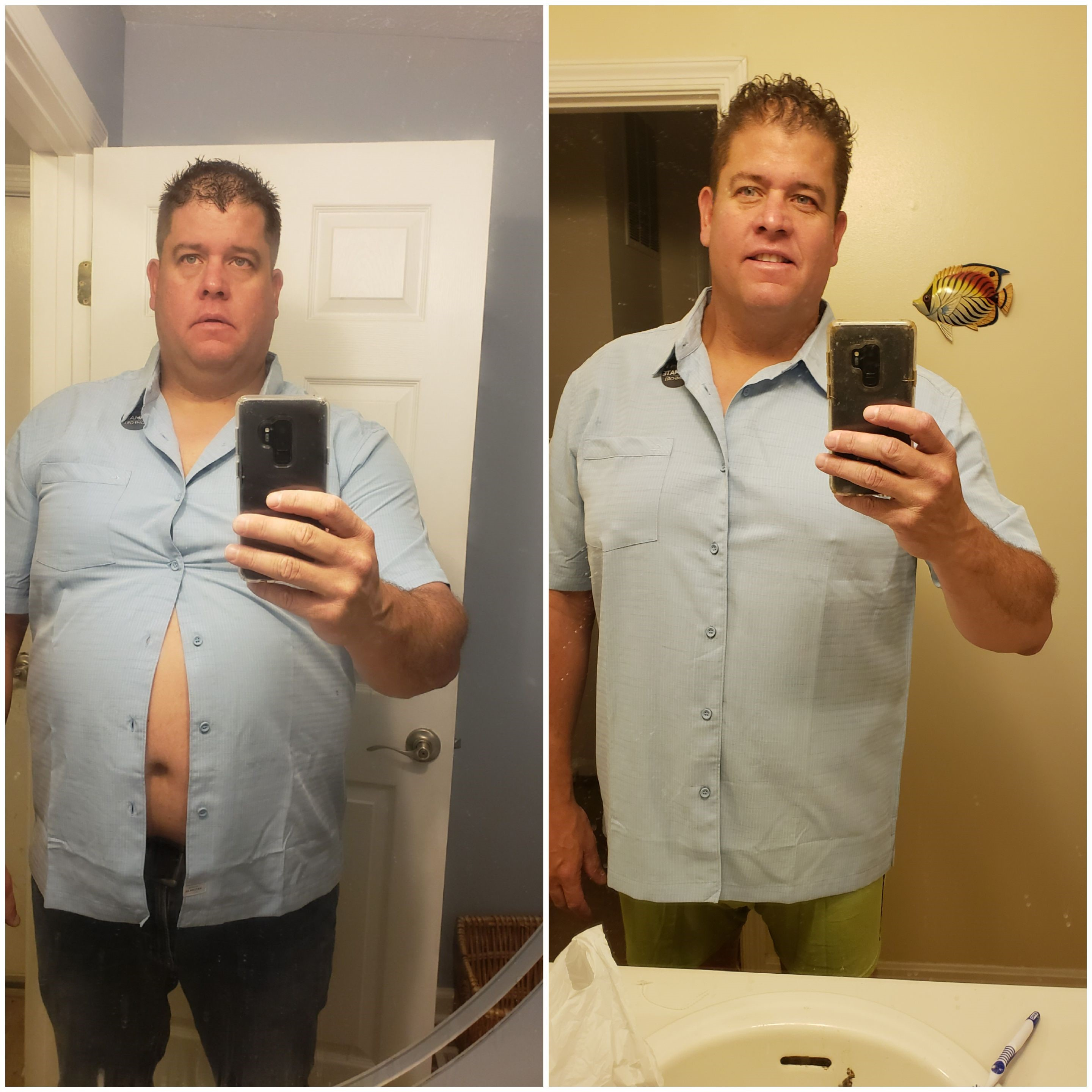 6 feet 3 Male 60 lbs Fat Loss Before and After 330 lbs to 270 lbs