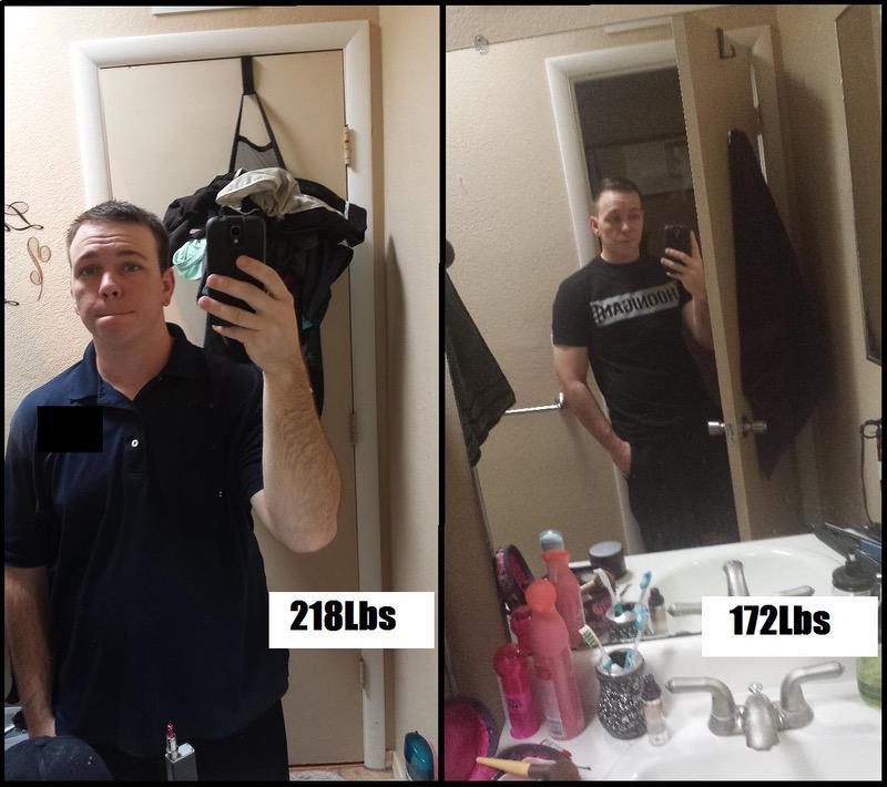5 feet 9 Male Progress Pics of 46 lbs Fat Loss 218 lbs to 172 lbs