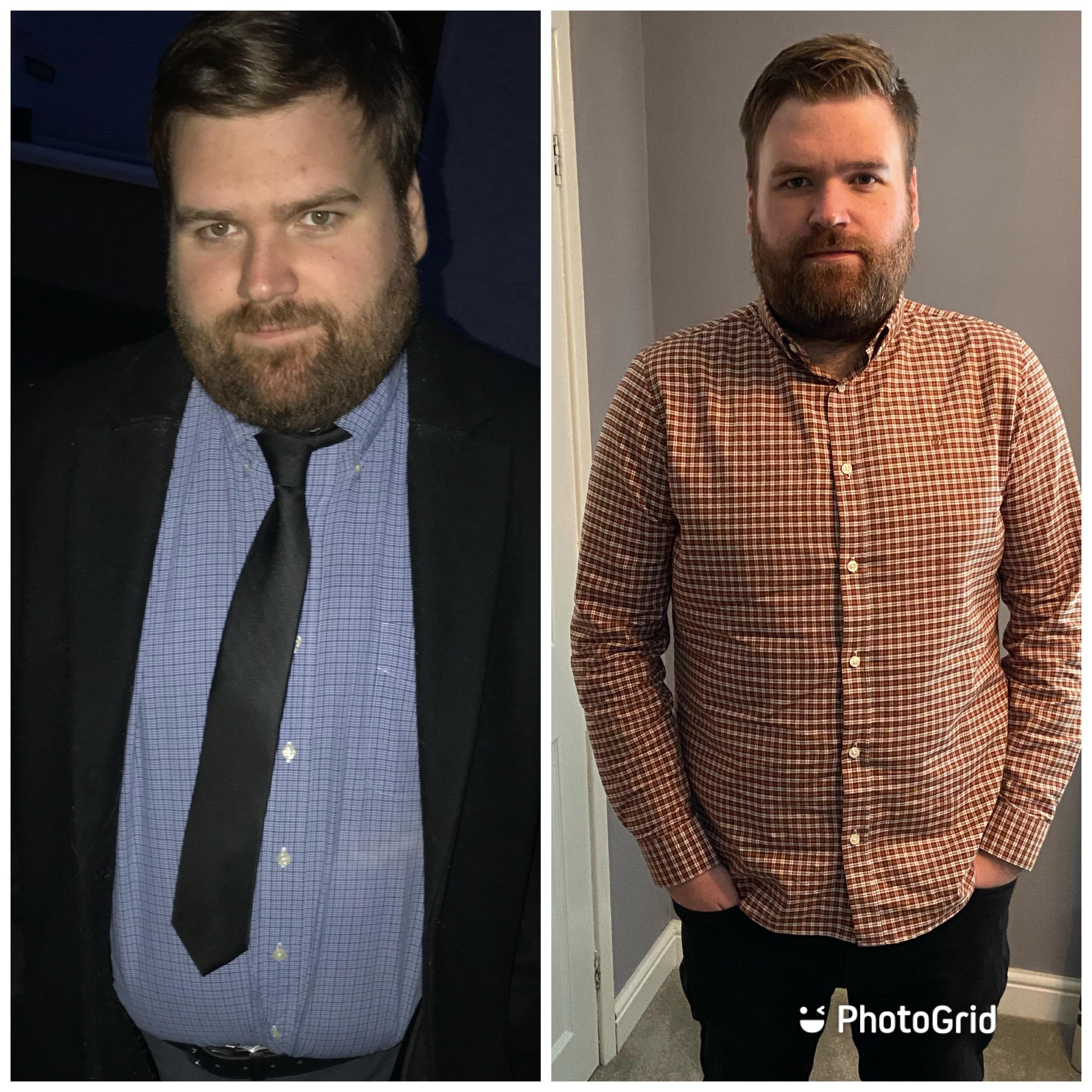 60 lbs Fat Loss Before and After 6 feet 2 Male 290 lbs to 230 lbs