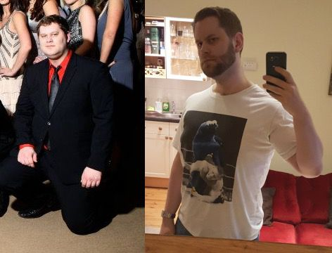 Before and After 107 lbs Fat Loss 6 foot 3 Male 336 lbs to 229 lbs