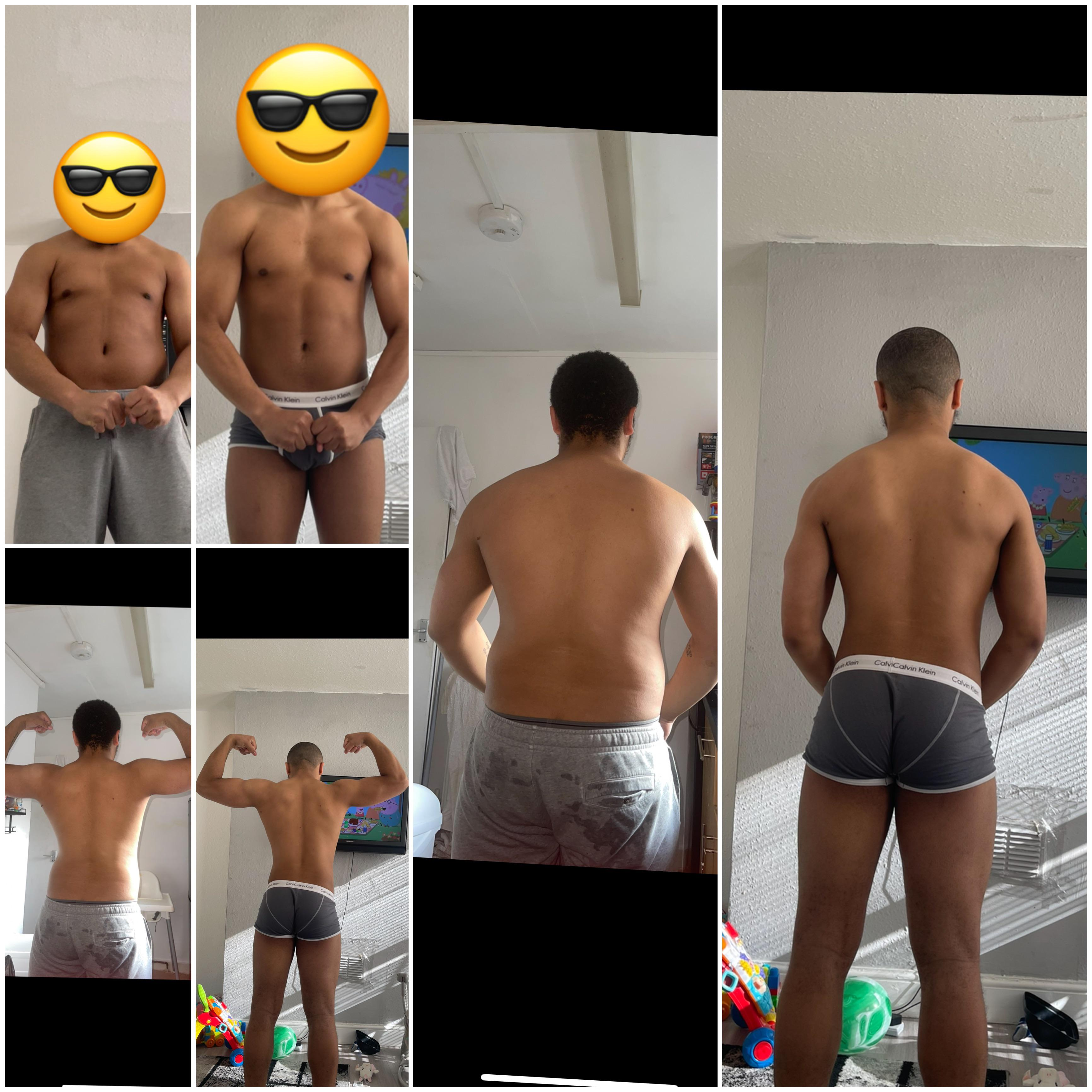 6 foot Male Before and After 44 lbs Weight Loss 246 lbs to 202 lbs