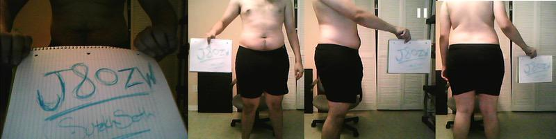 2 Pictures of a 241 lbs 6 foot Male Weight Snapshot