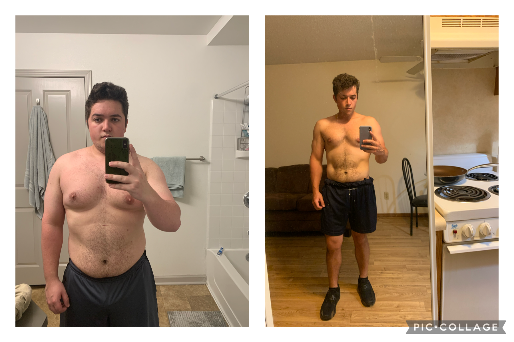 5'6 Male 70 lbs Fat Loss Before and After 235 lbs to 165 lbs