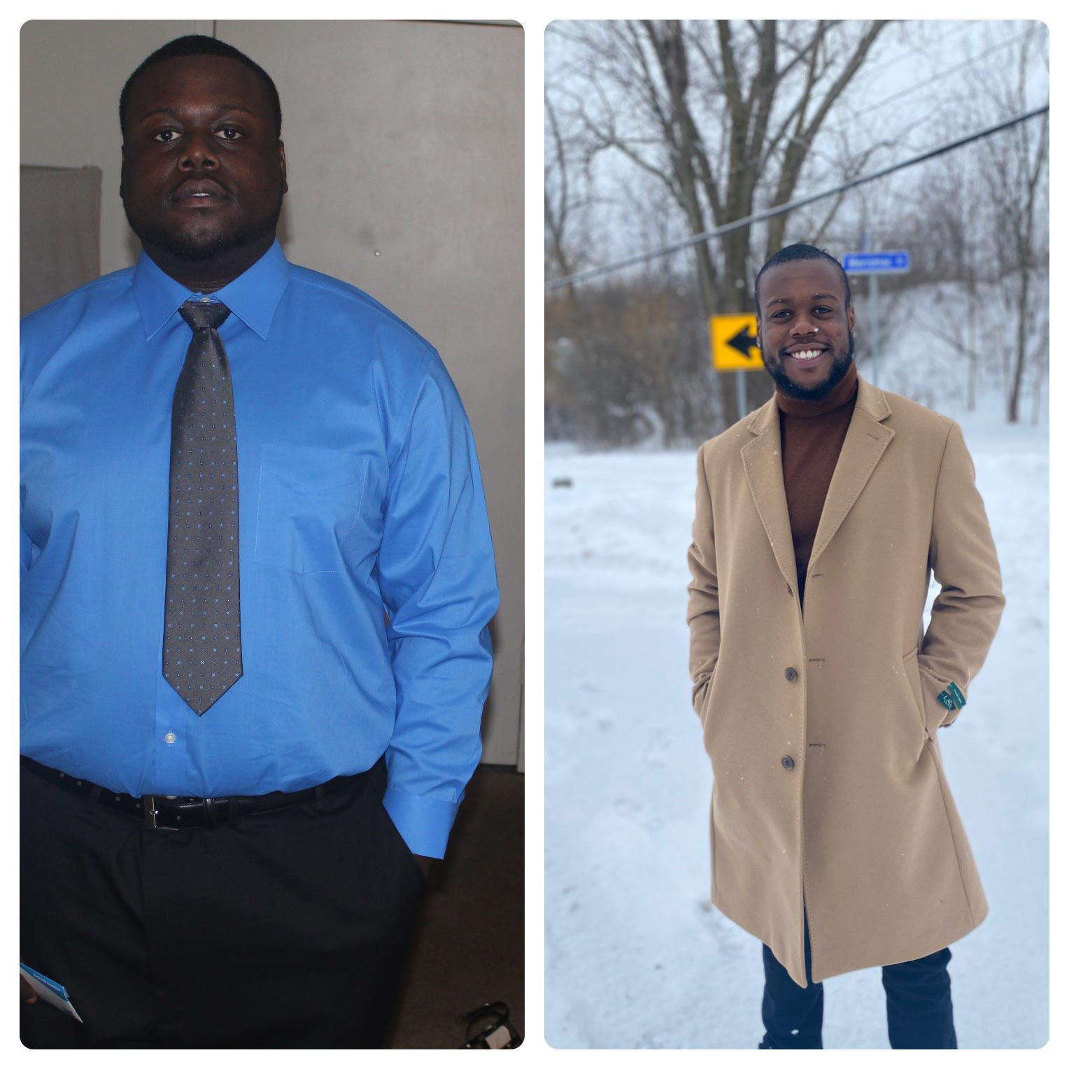 Before and After 140 lbs Weight Loss 5'10 Male 330 lbs to 190 lbs